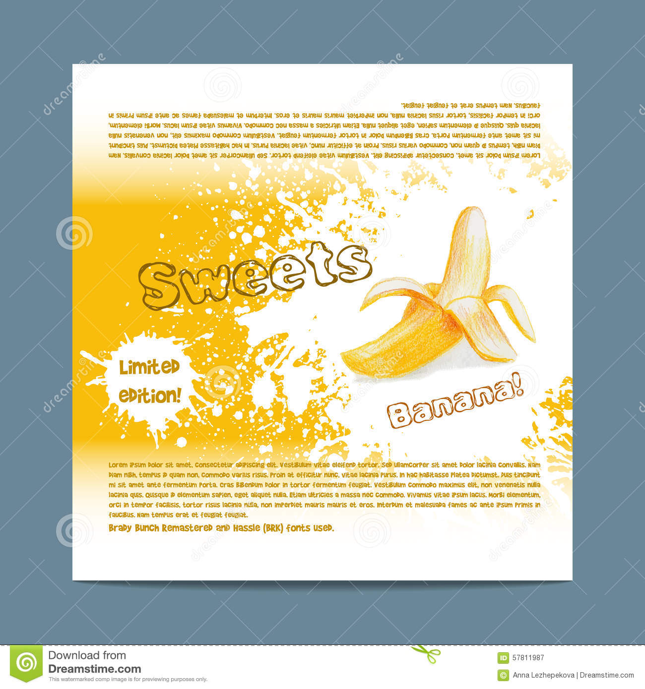 template candy packaging banana sweets stock vector illustration