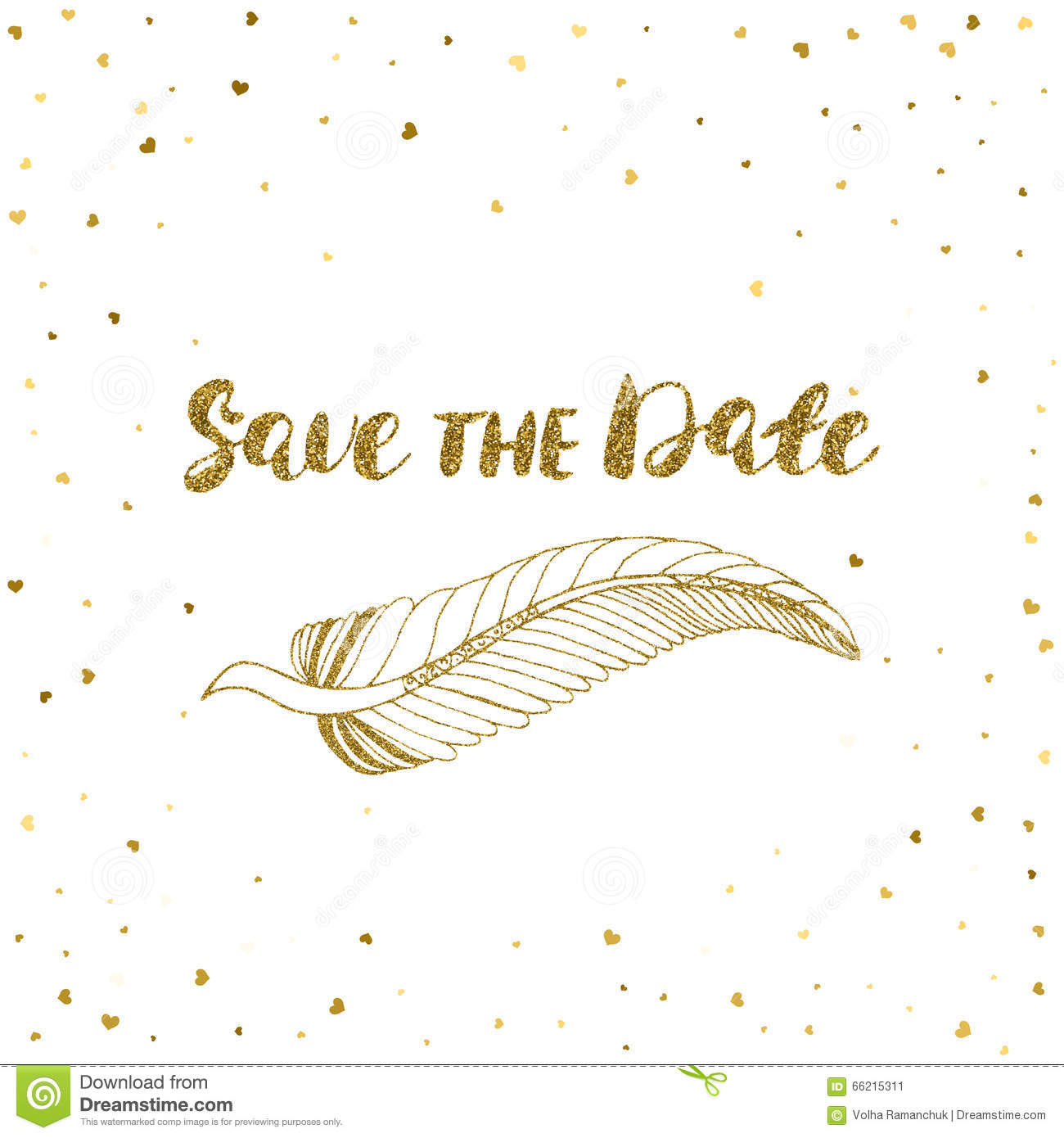 template for card banner flyer save the date invitation birthday party with golden feather. Black Bedroom Furniture Sets. Home Design Ideas
