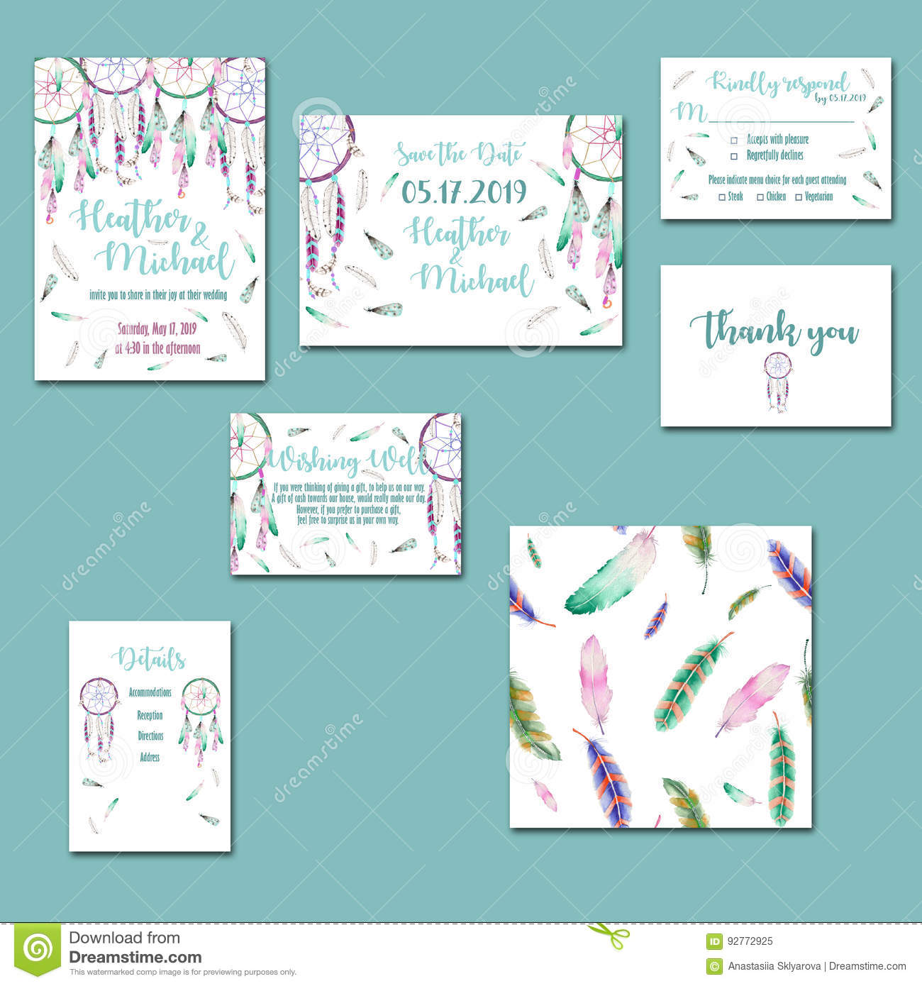 template cards set with watercolor dream catchers stock illustration