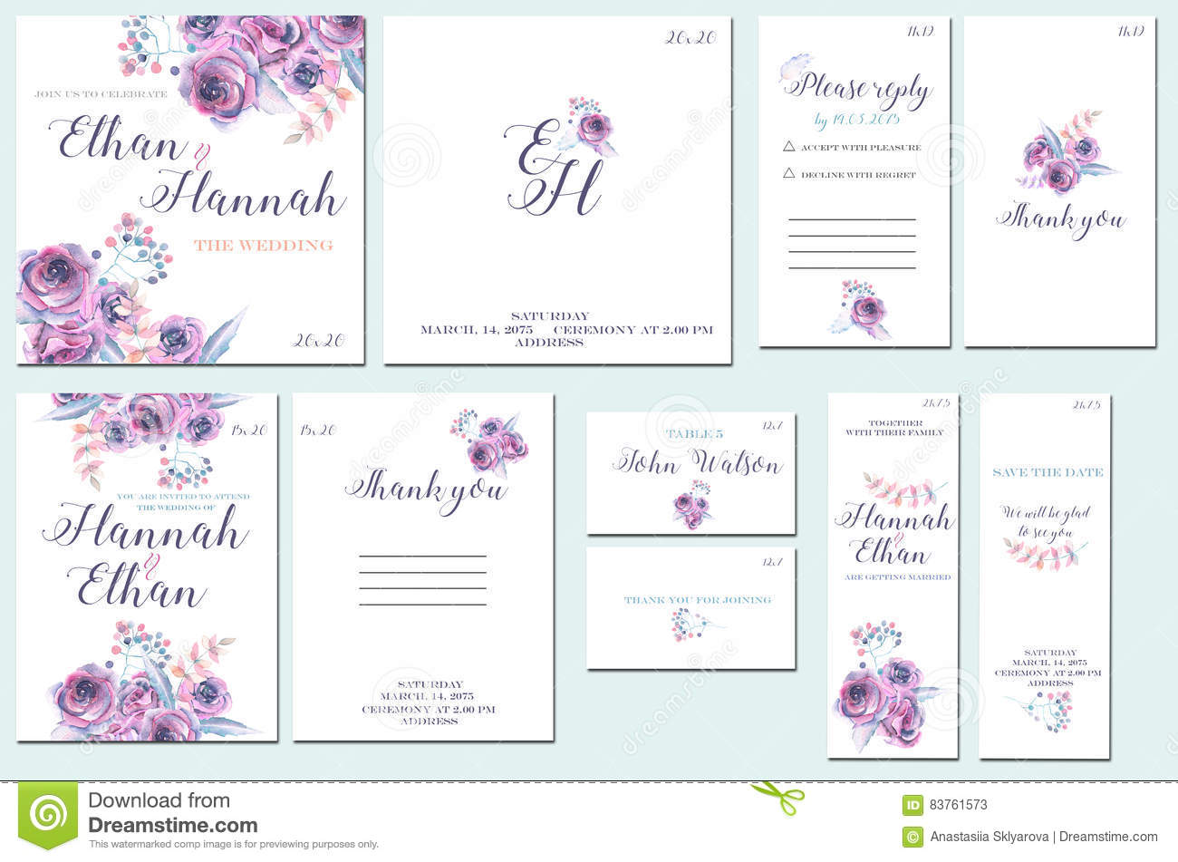 Purple Rose Wedding Invitations: Template Cards Set With Watercolor Purple Roses Stock
