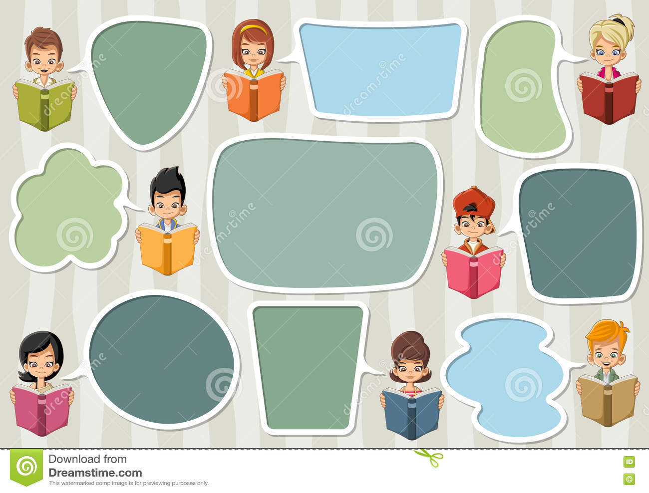 template with cartoon children reading books. stock vector