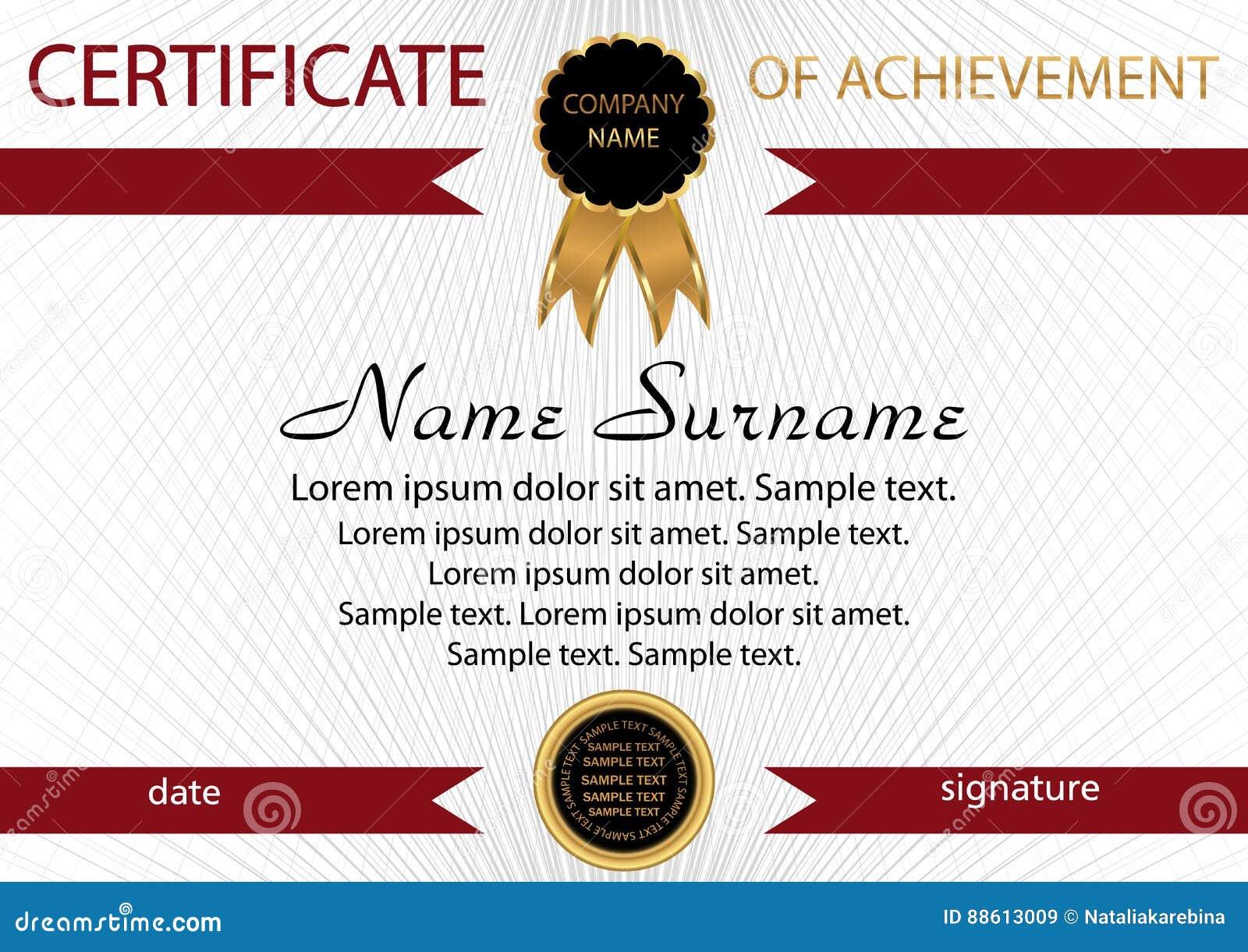 Template Certificate Of Achievement Elegant Background Winning