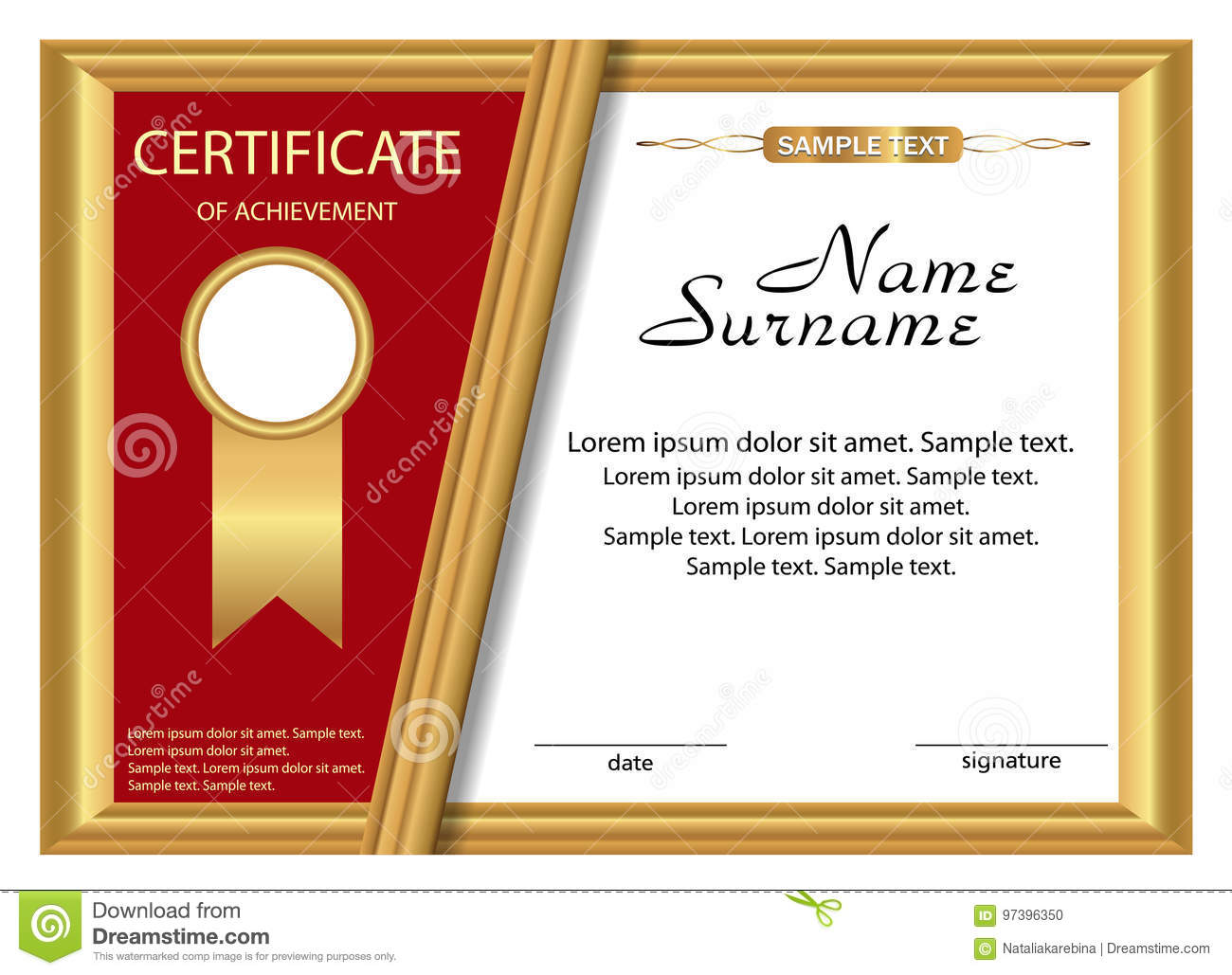 Template Certificate Of Achievement. Gold And Red Design. Vector ...