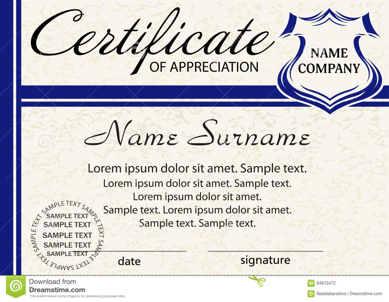 template certificate of appreciation elegant blue design vecto