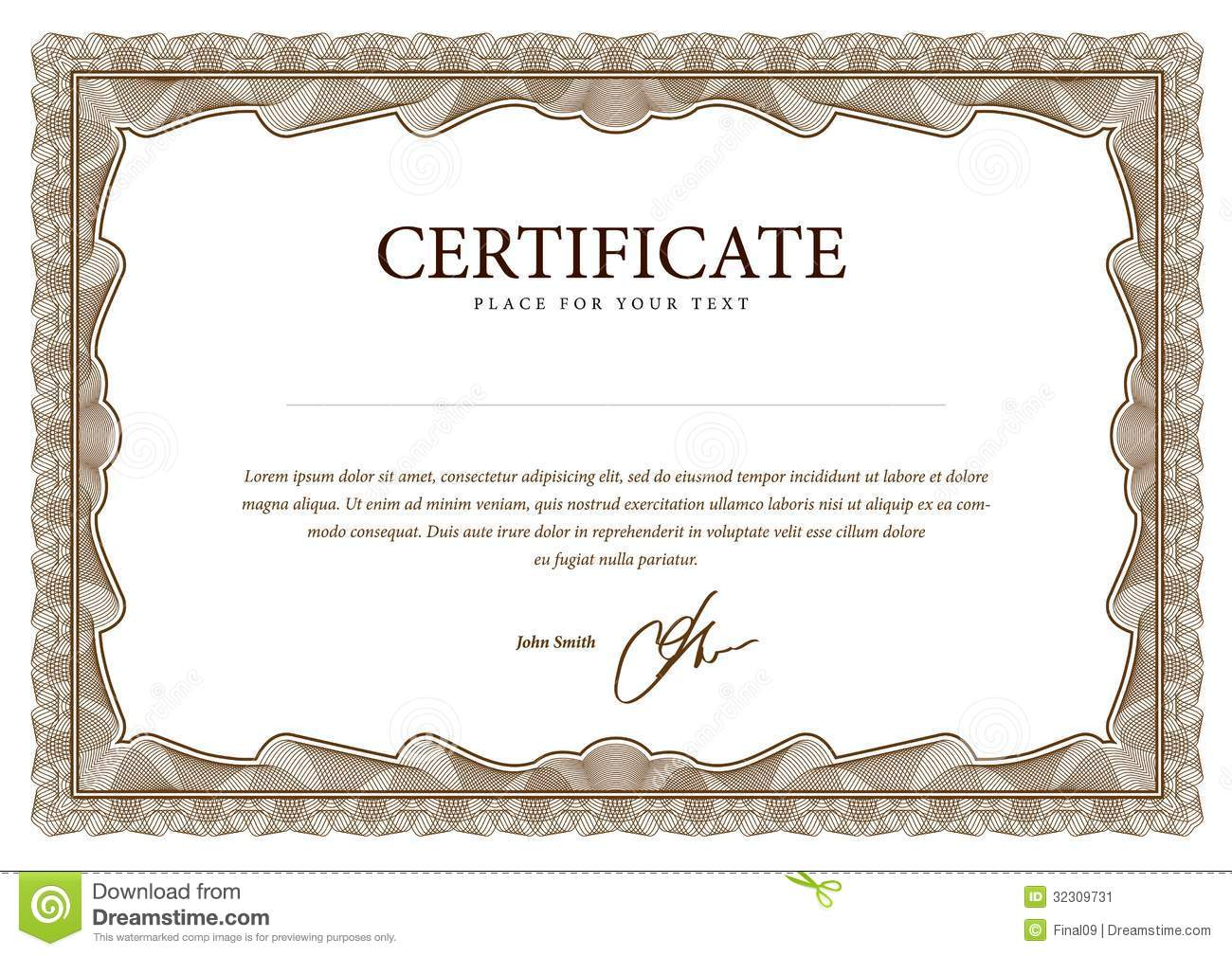 Template Certificate, Currency And Diplomas.  Award Paper Template