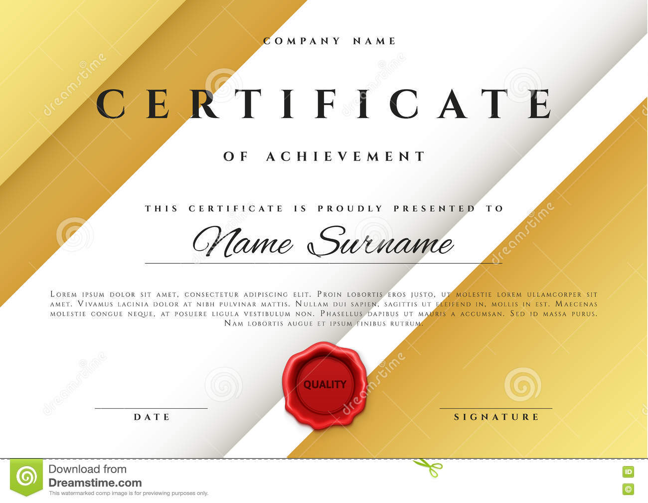 Template Certificate Design In Gold Color Stock Vector