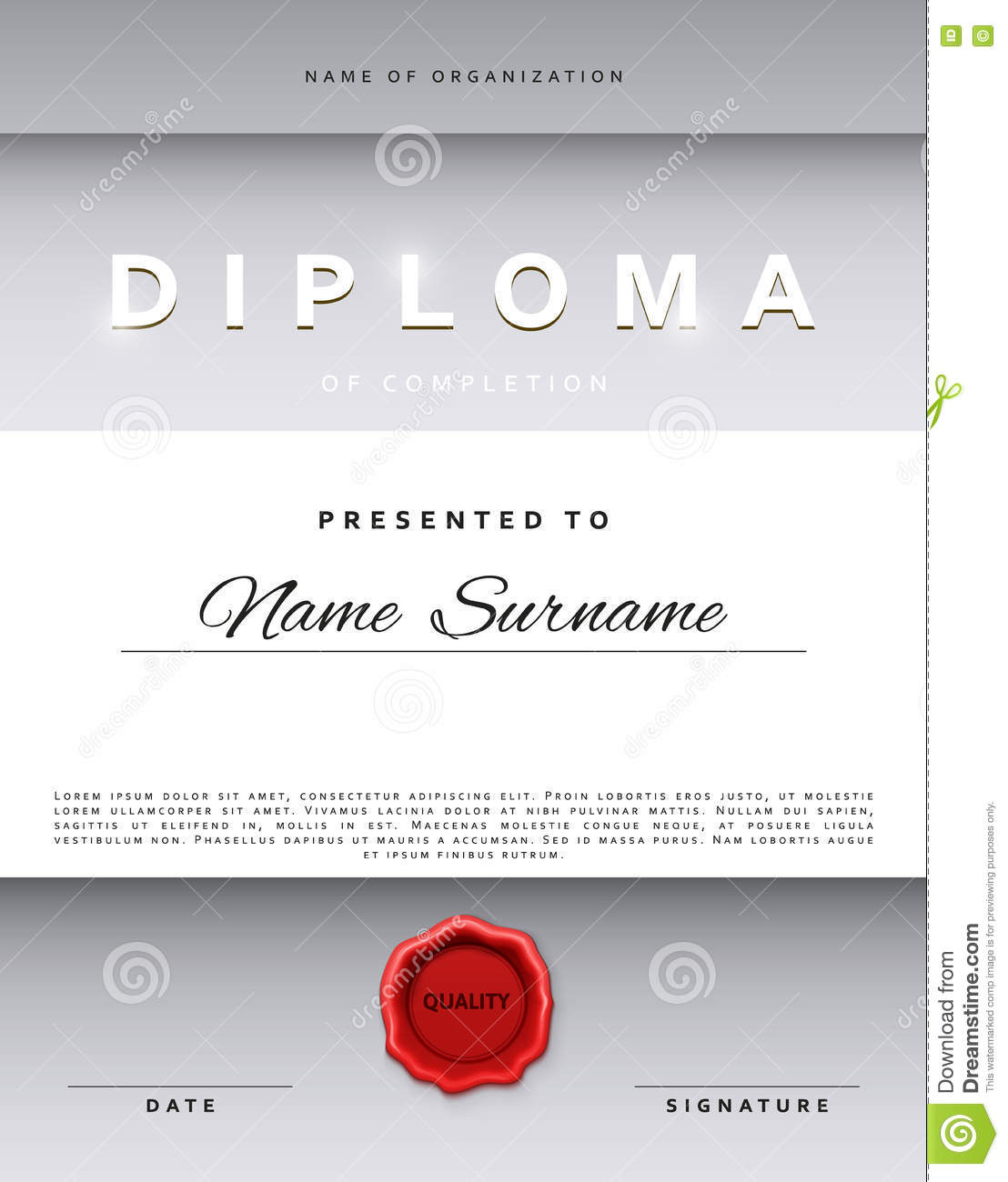 Template certificate design in silver color stock vector template certificate design in silver color alramifo Image collections