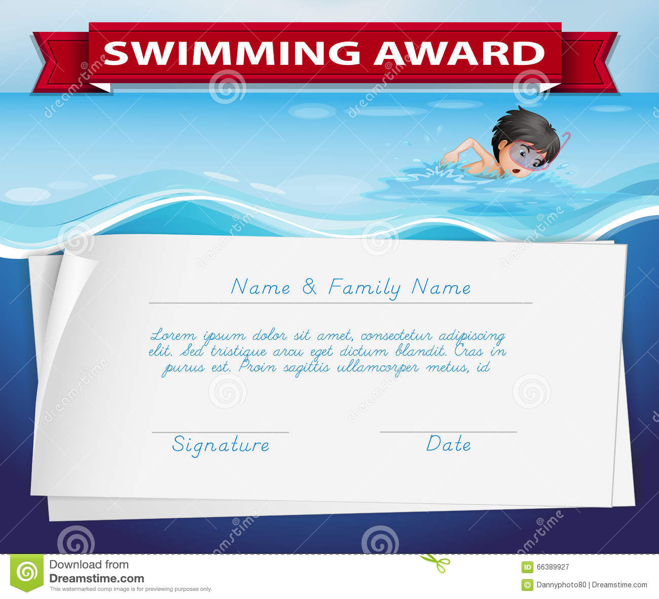 Free swimming certificate templates images templates example swimming certificates template fieldstation template of certificate for swimming award stock vector image alramifo images yelopaper Gallery
