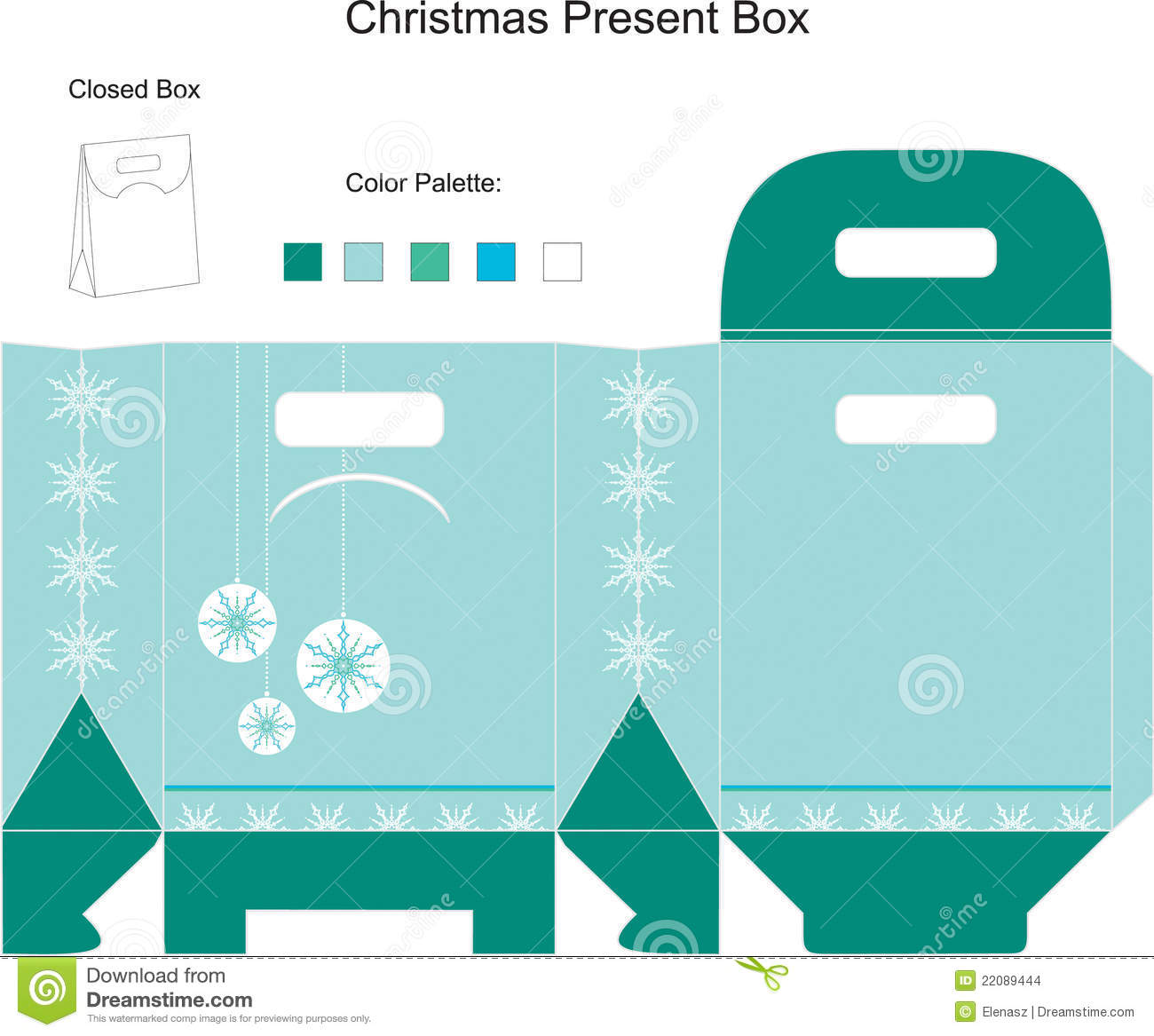 Template For Christmas Box Stock Vector Illustration Of Package
