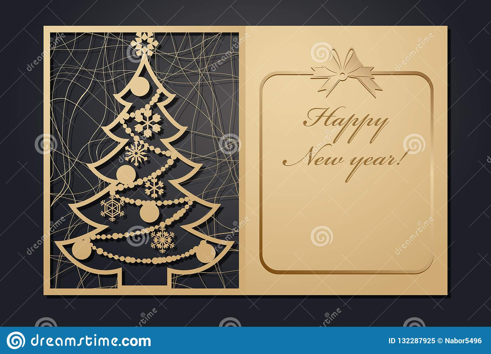 Template Christmas cards for laser cutting. Through silhouette New Year`s picture. vector illustration.