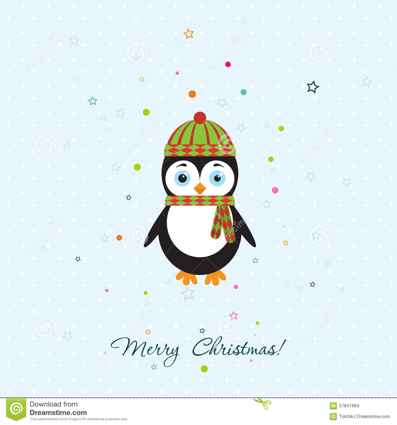 Penguin Template | Template Christmas Greeting Card With A Penguin Vector Stock Vector