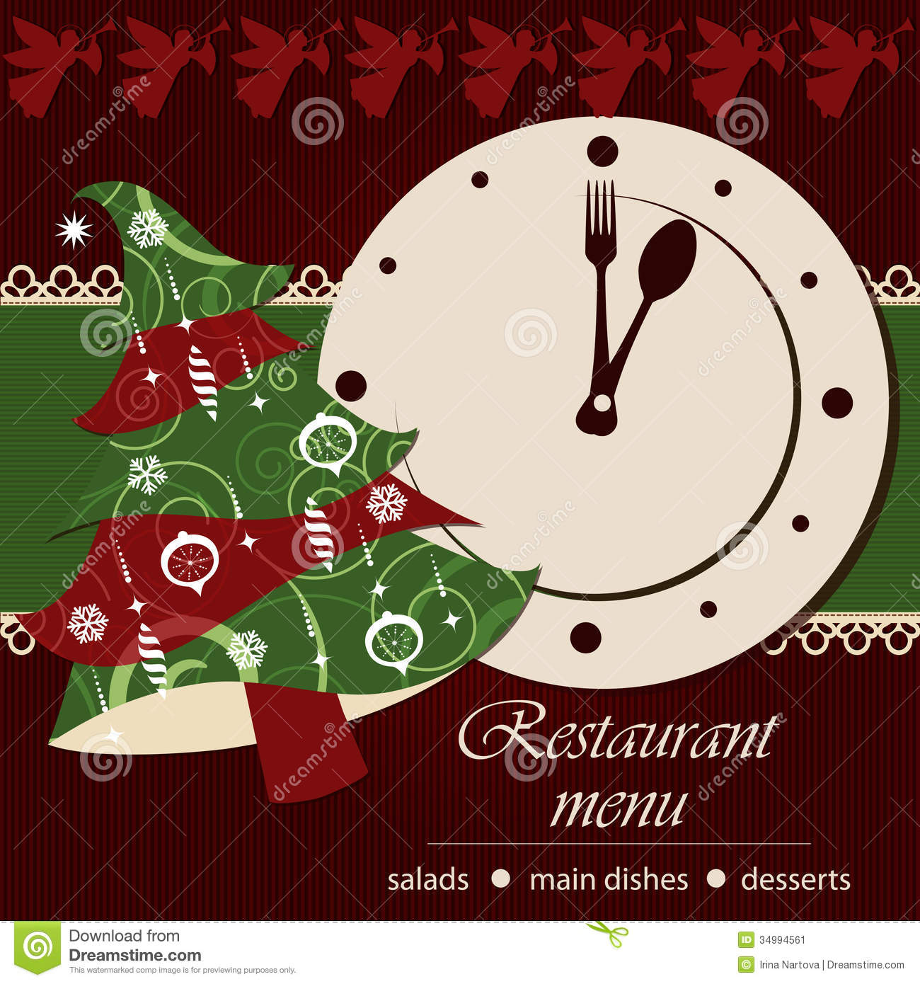 Template Of A Christmas Menu Stock Vector Illustration Of Lace