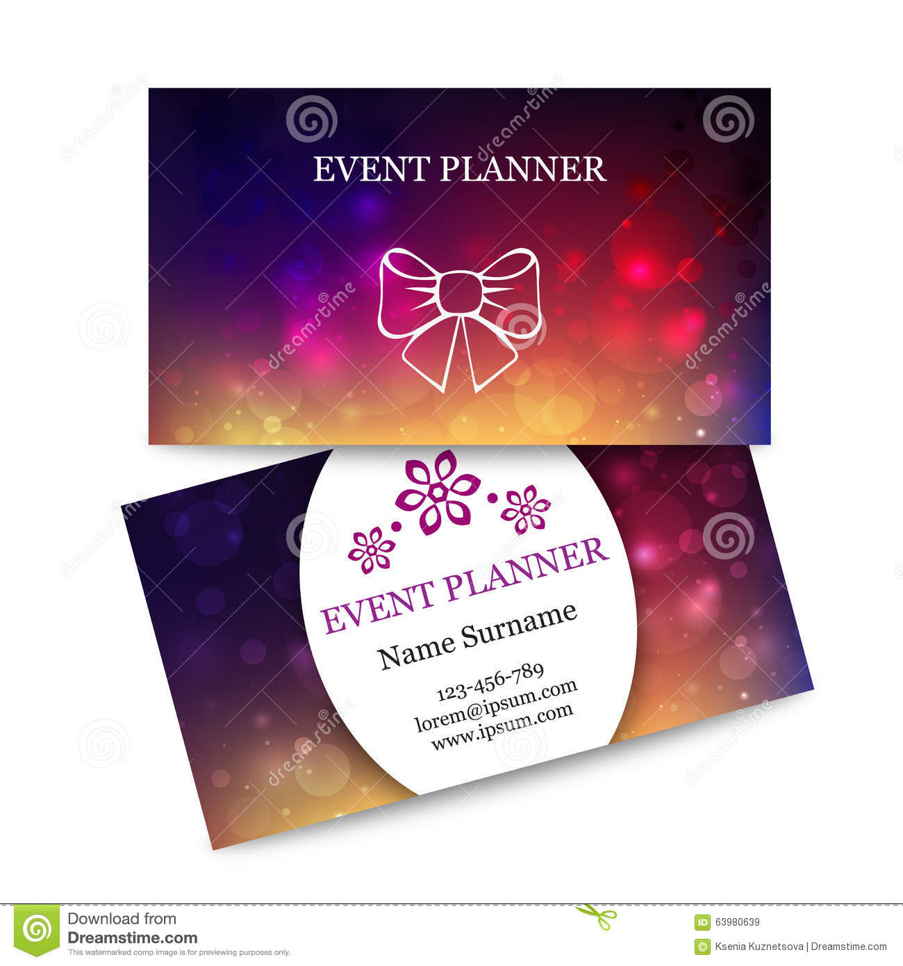 Template colorful business cards for event planner stock vector template colorful business cards for event planner wajeb Image collections