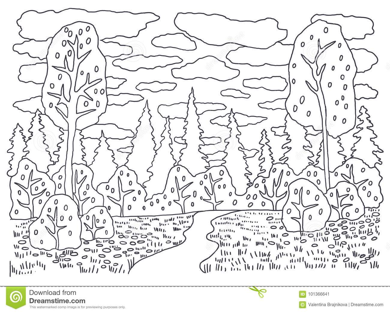 Template For Coloring Coloring Picture Landscape With