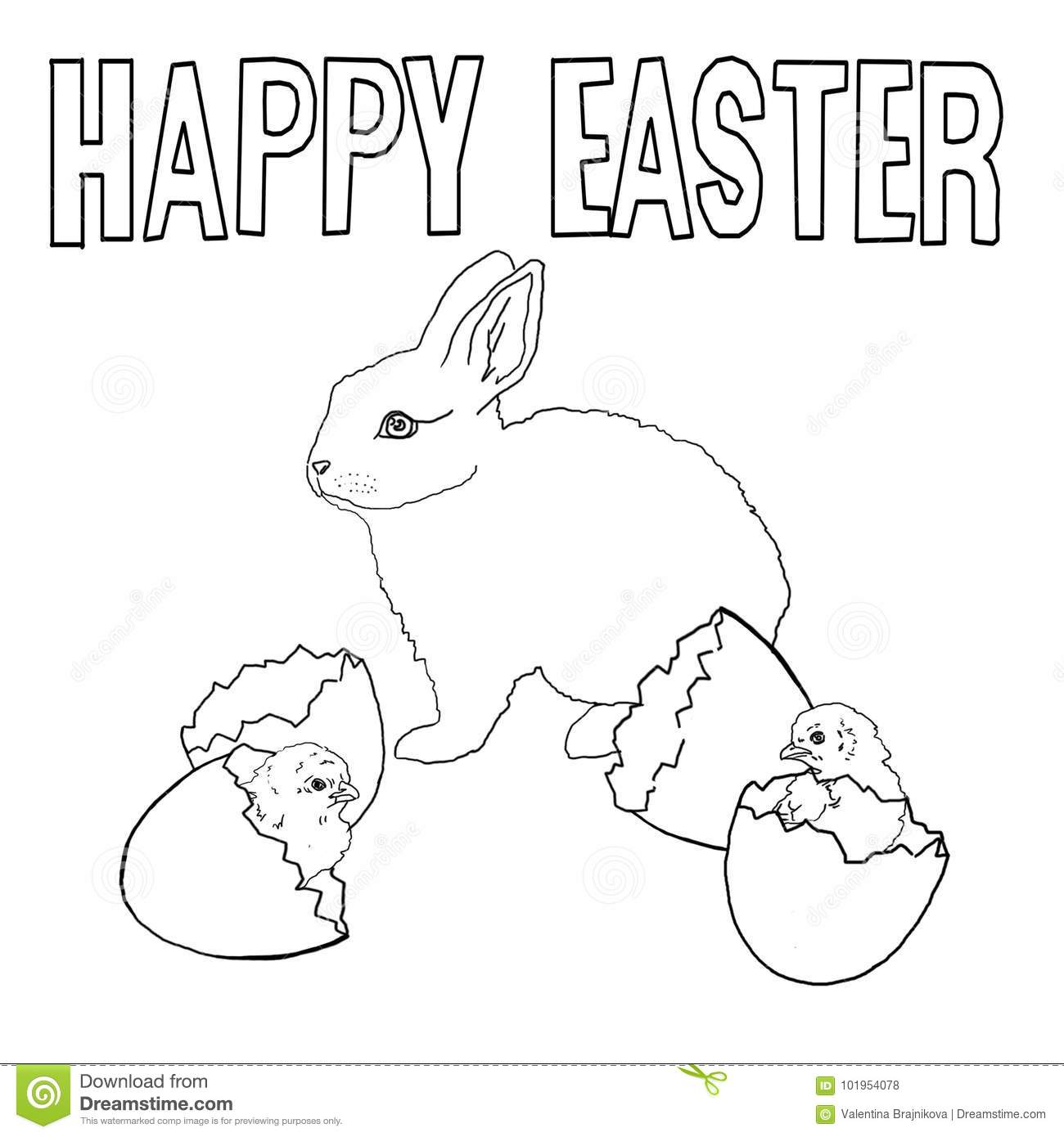 template for coloring easter rabbit chickens shell eggs stock