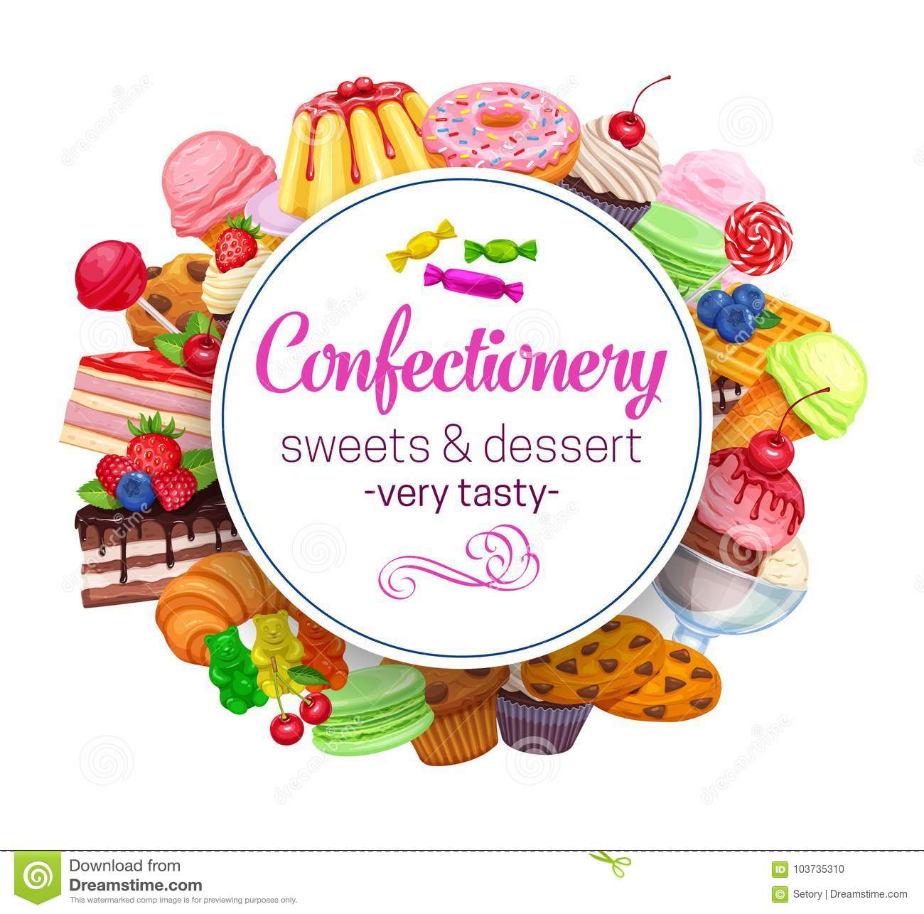 Template With Confectionery Stock Vector - Illustration of macaroon ...