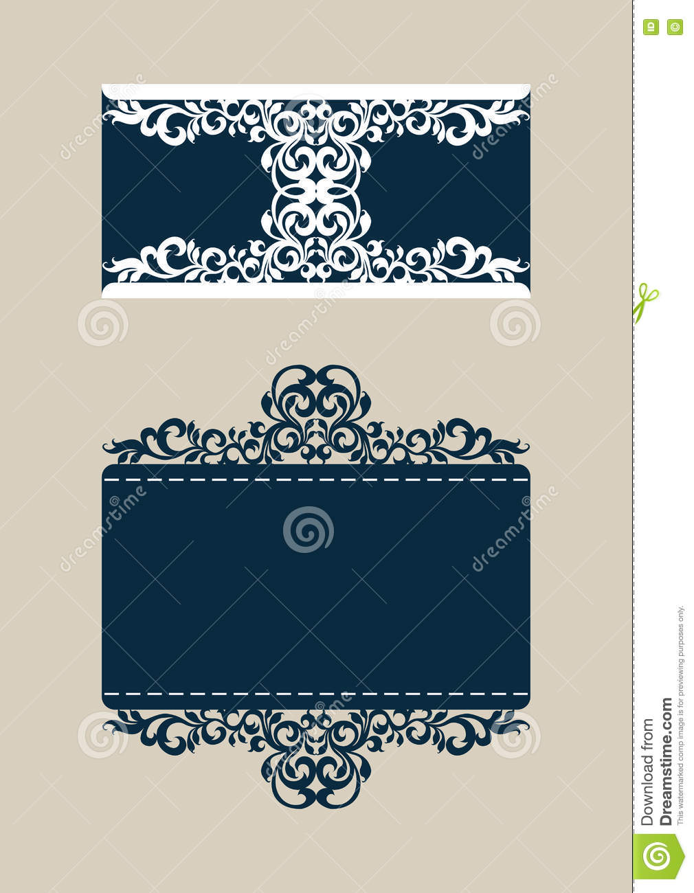 template congratulatory envelope with carved openwork pattern stock