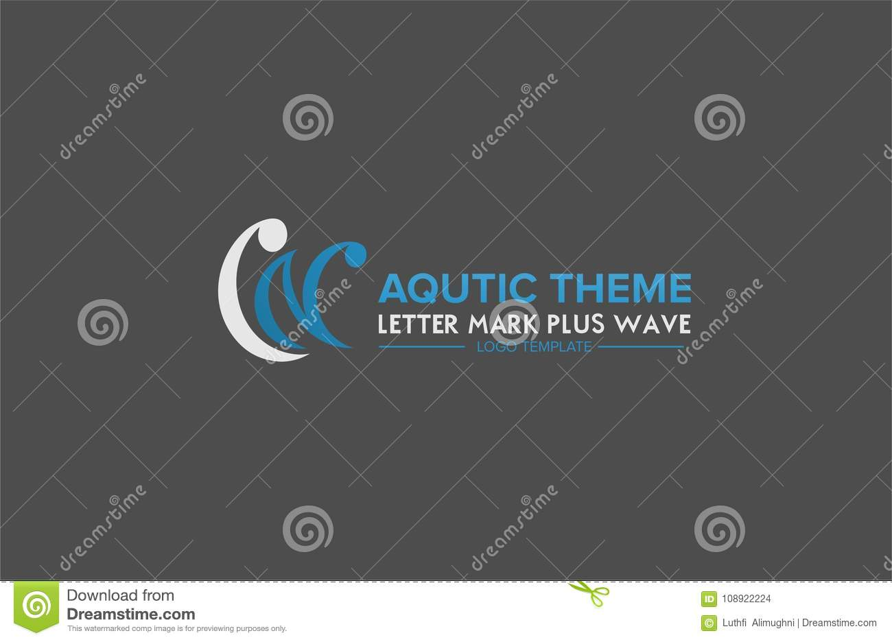 l and n letter mark plus wave aquatic theme logo template stock