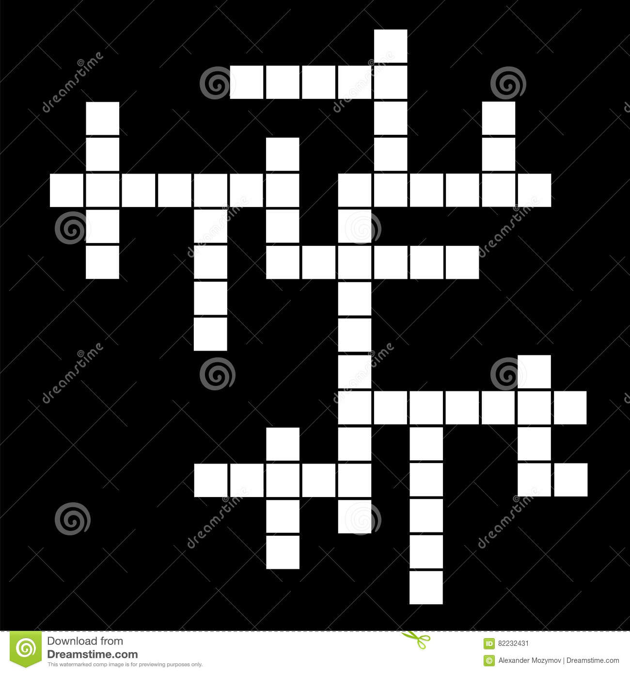 Template Of Crossword Puzzle Stock Vector Illustration Of Isolated