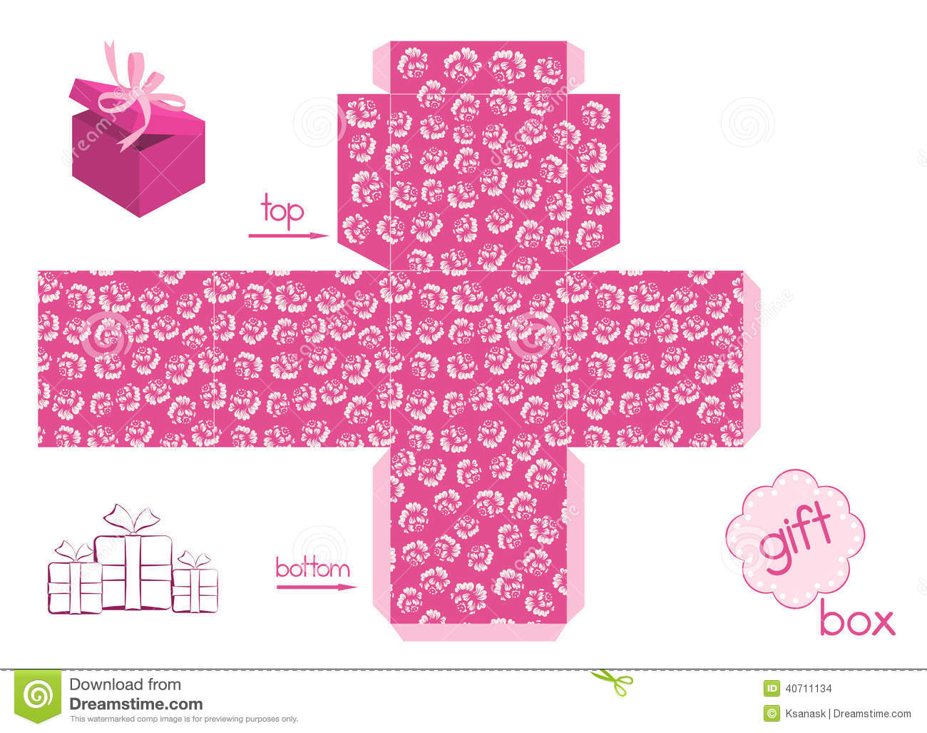 Template For Cute Gift Box Stock Vector Image 40711134