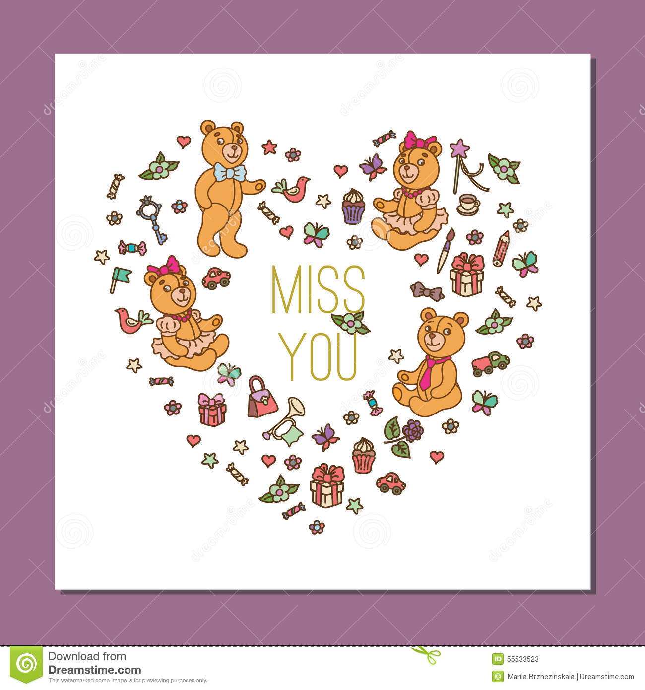 template with cute teddy bear stock vector illustration of holiday