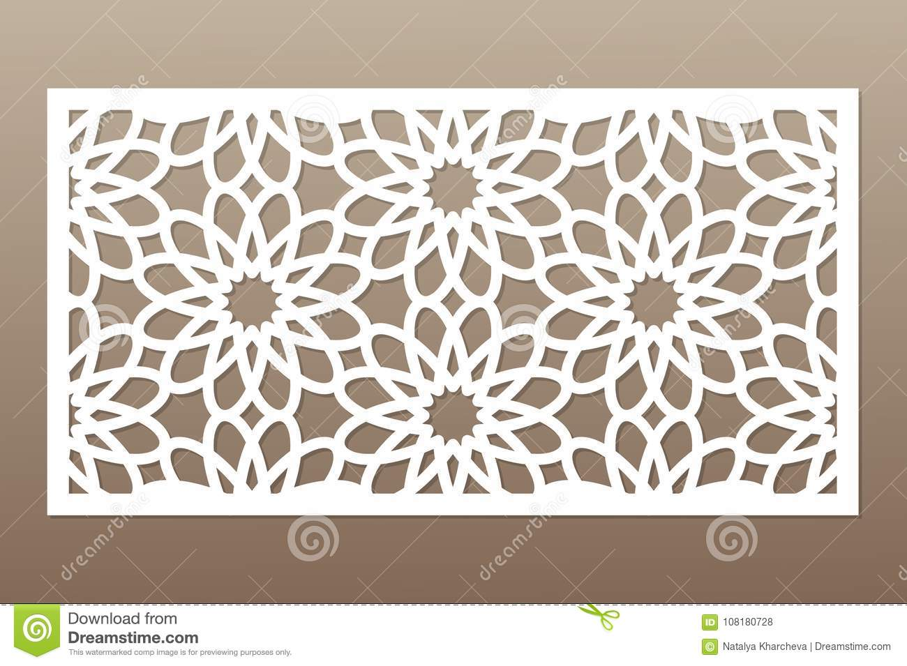 Template For Cutting  Geometric Flower Pattern  Laser Cut  Ratio 1:2