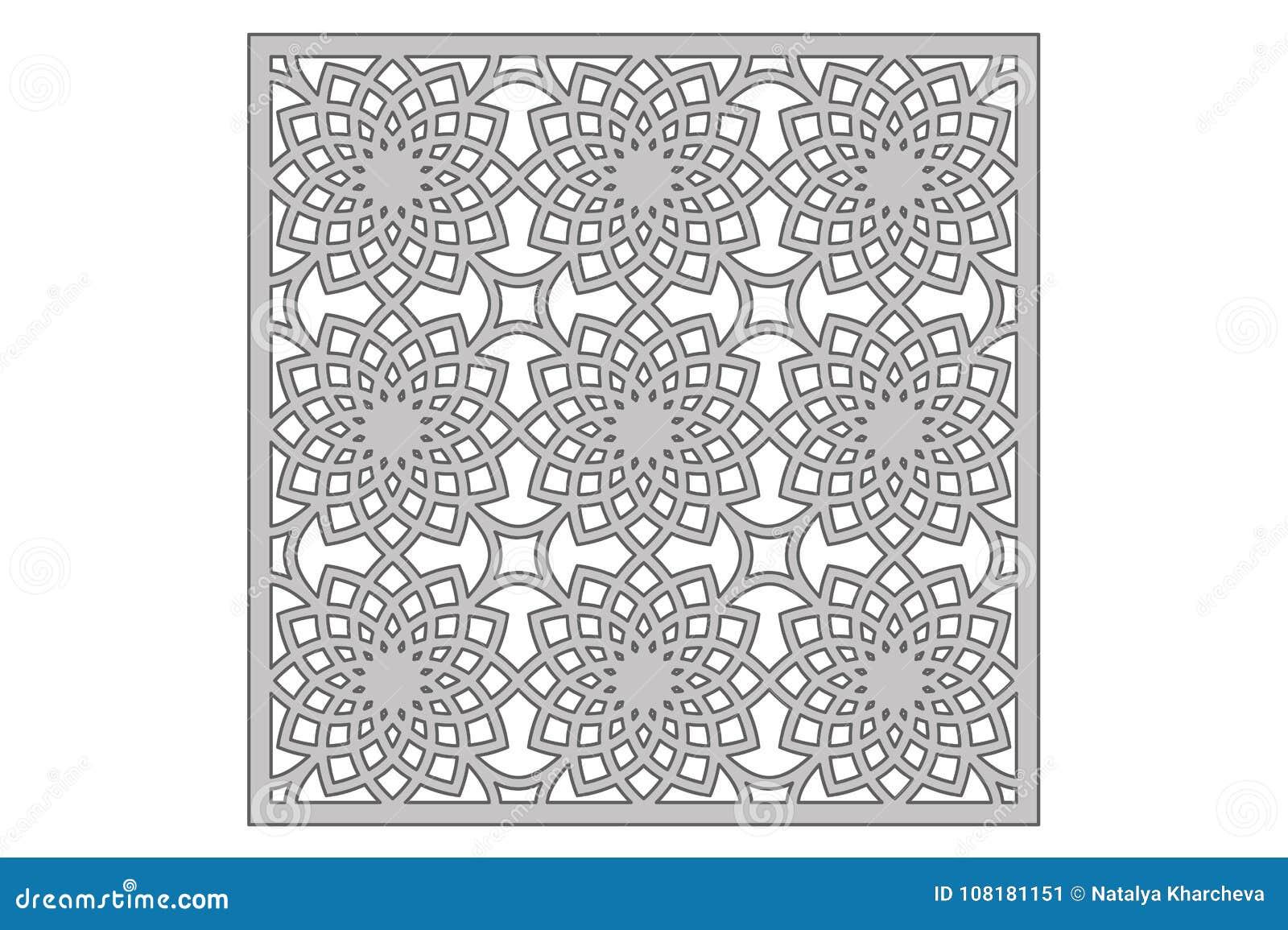 Template For Cutting. Geometric Flower Pattern. Laser Cut. Ratio 1:1 ...