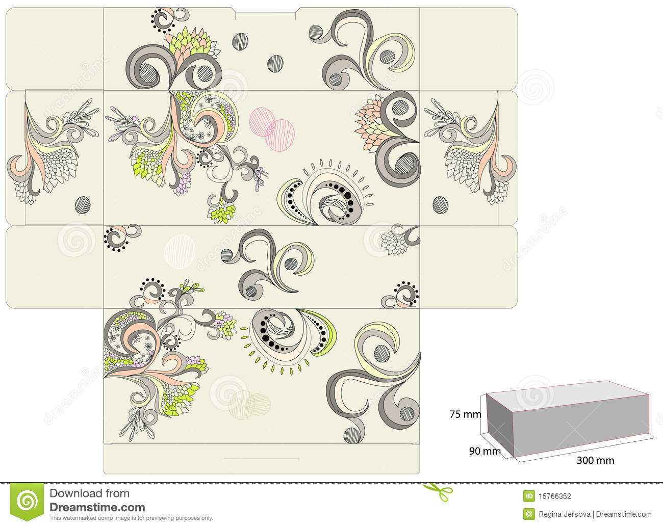 Decorative Boxes Templates : Template for decorative box stock photography image