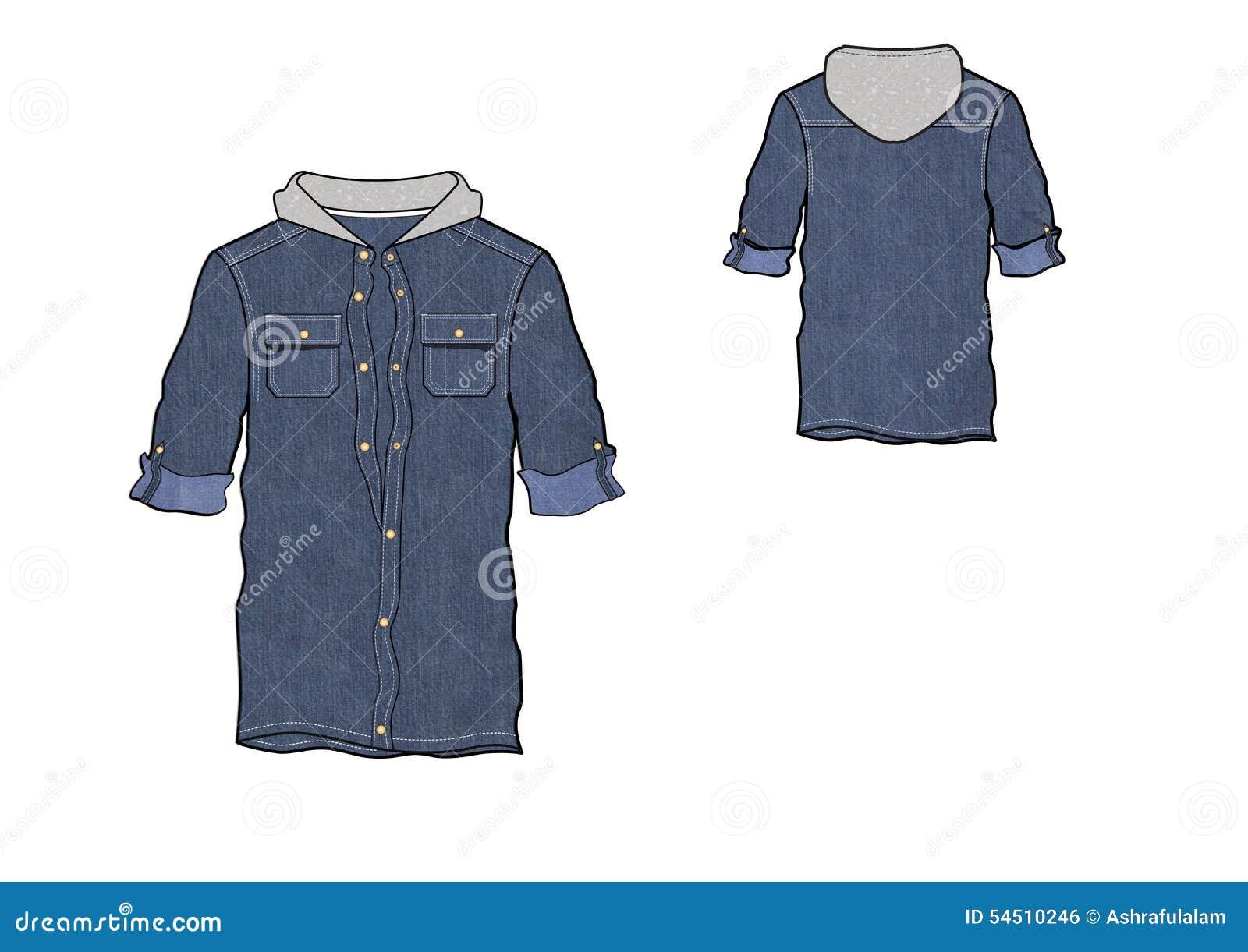 Shirt design illustrator template - Template Of Denim Roll Up Hood Shirt Design Royalty Free Stock Image