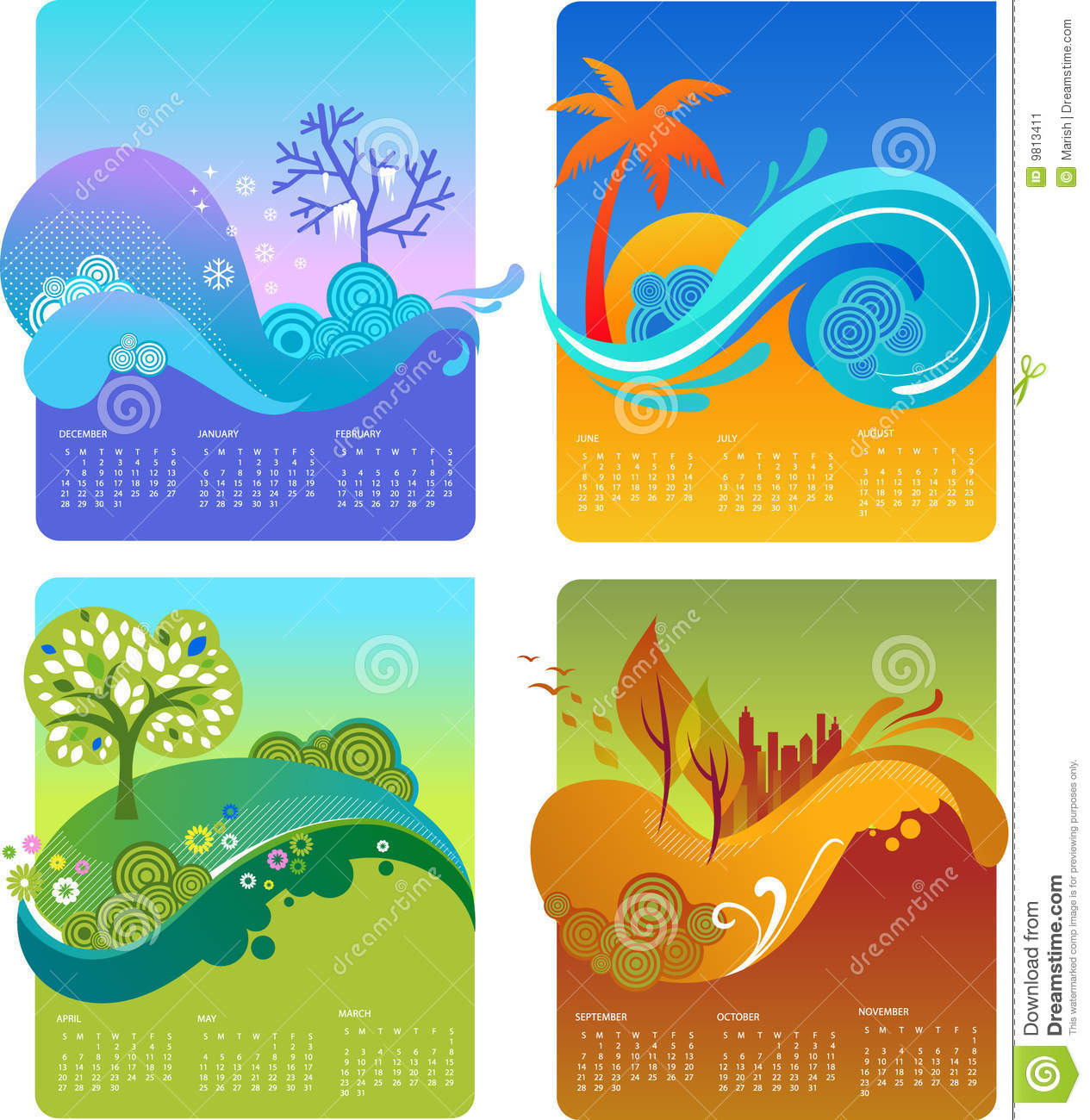 Calendar Design Ideas Vector : Template of design calendar vector stock image