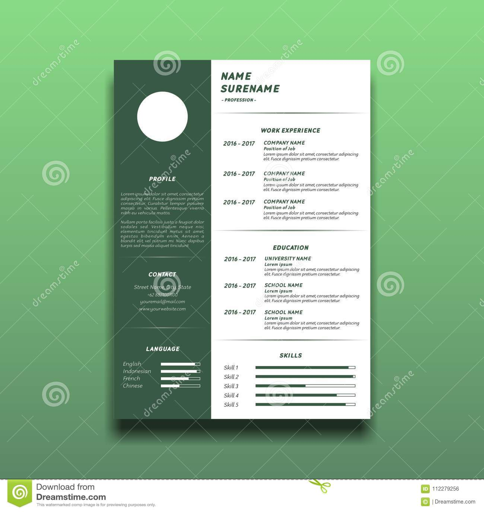 Simple Curriculum Vitae Template Stock Vector Illustration Of