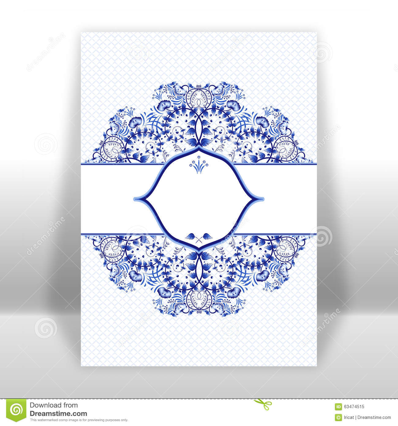template design greeting card with a blue circular ornaments in
