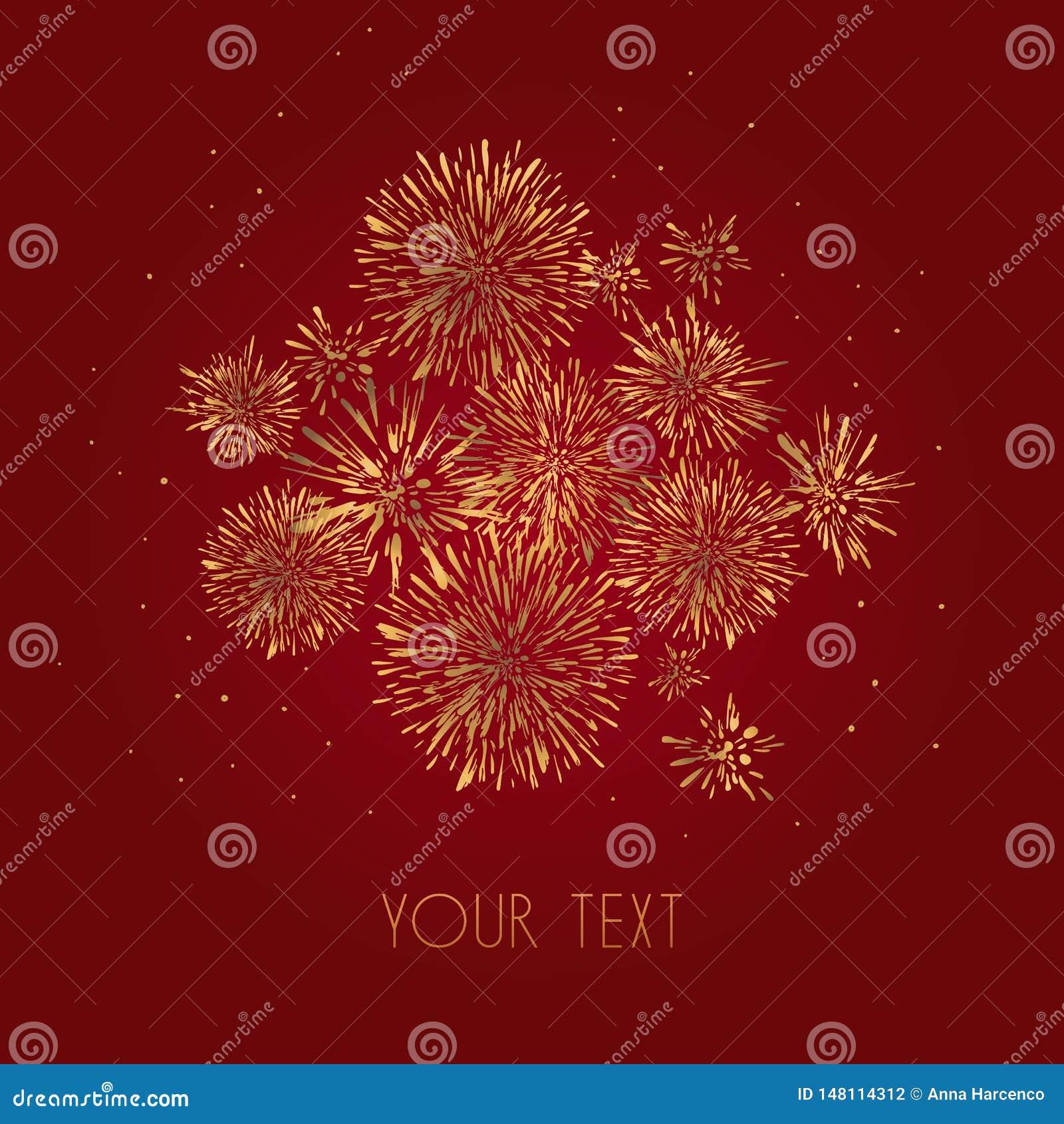 Template design of invitation with gold fireworks. Festive design postcards, invitations, brochures, cover, border. element for de