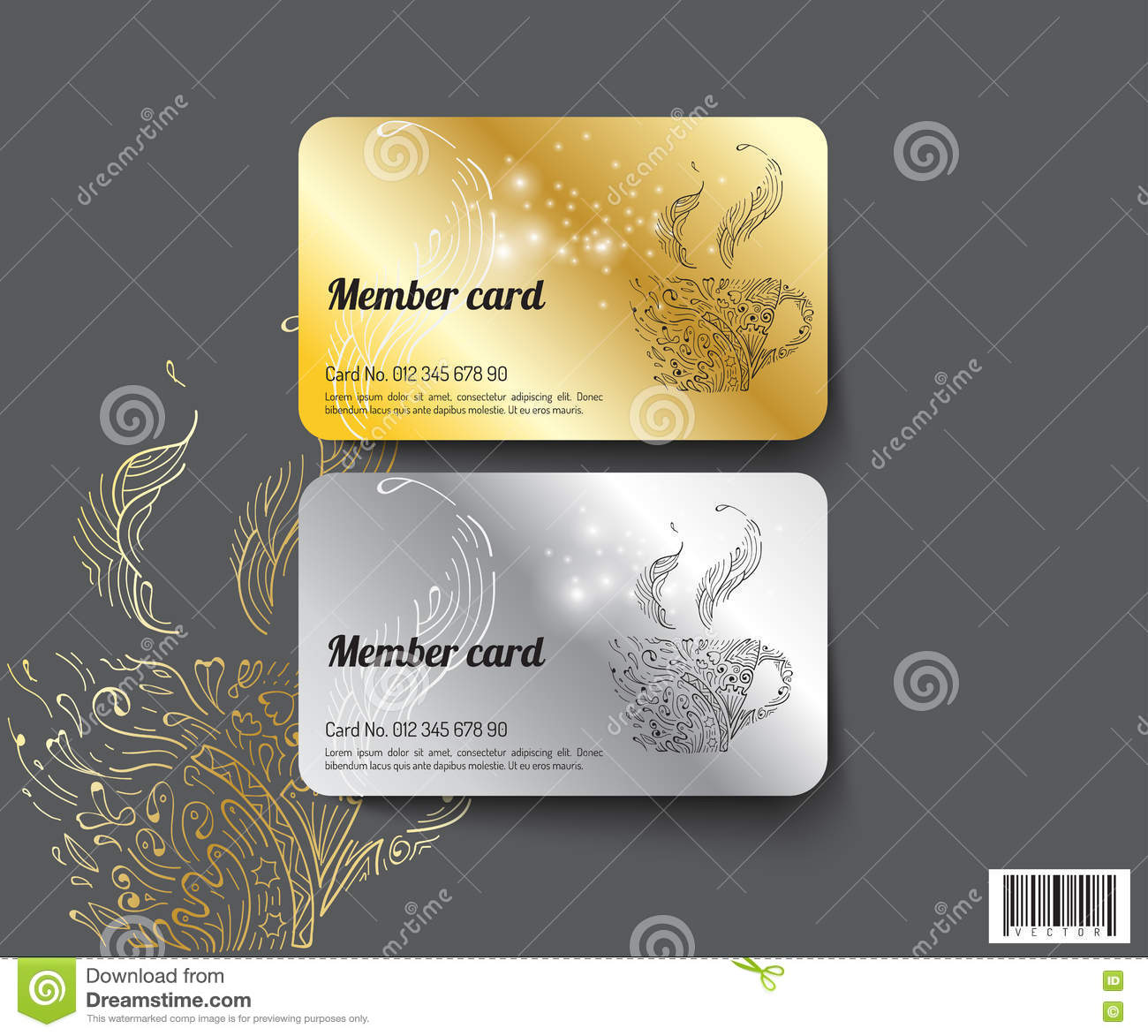 Template Design Member Card. Vector File. Exclusive, Plastic.  Membership Card Template