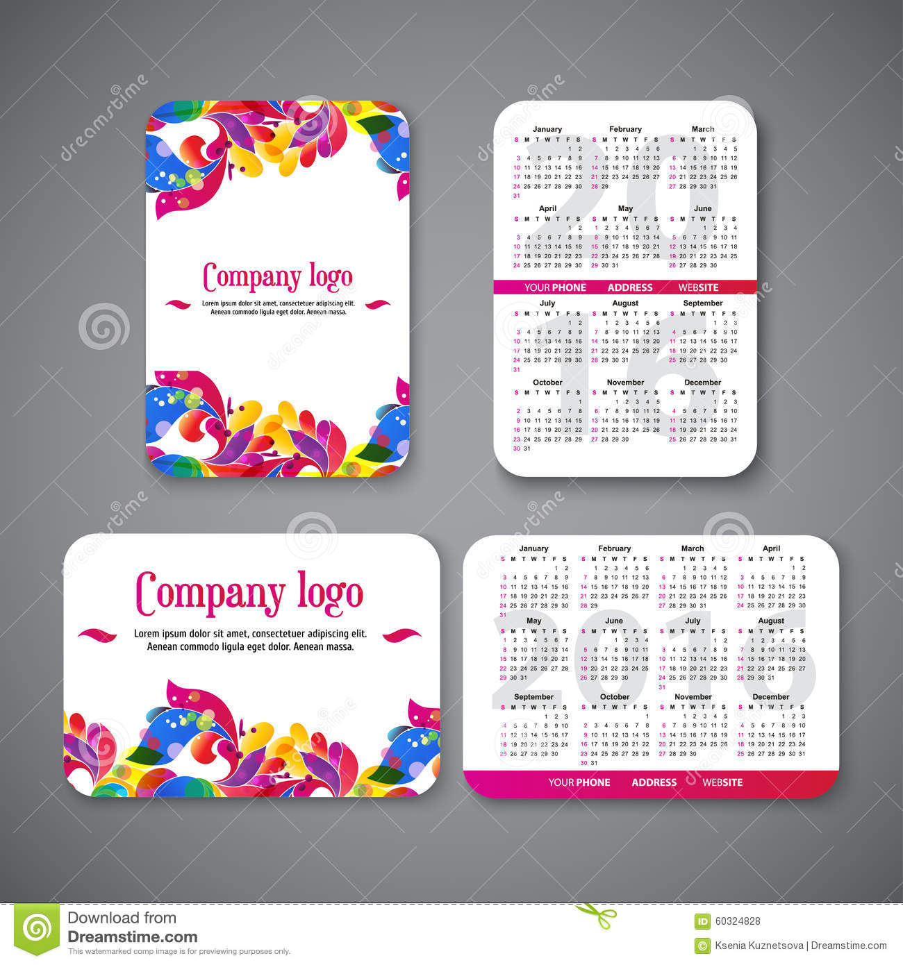 Template Design Pocket Calendar 2016 With Patterns Stock Vector ...