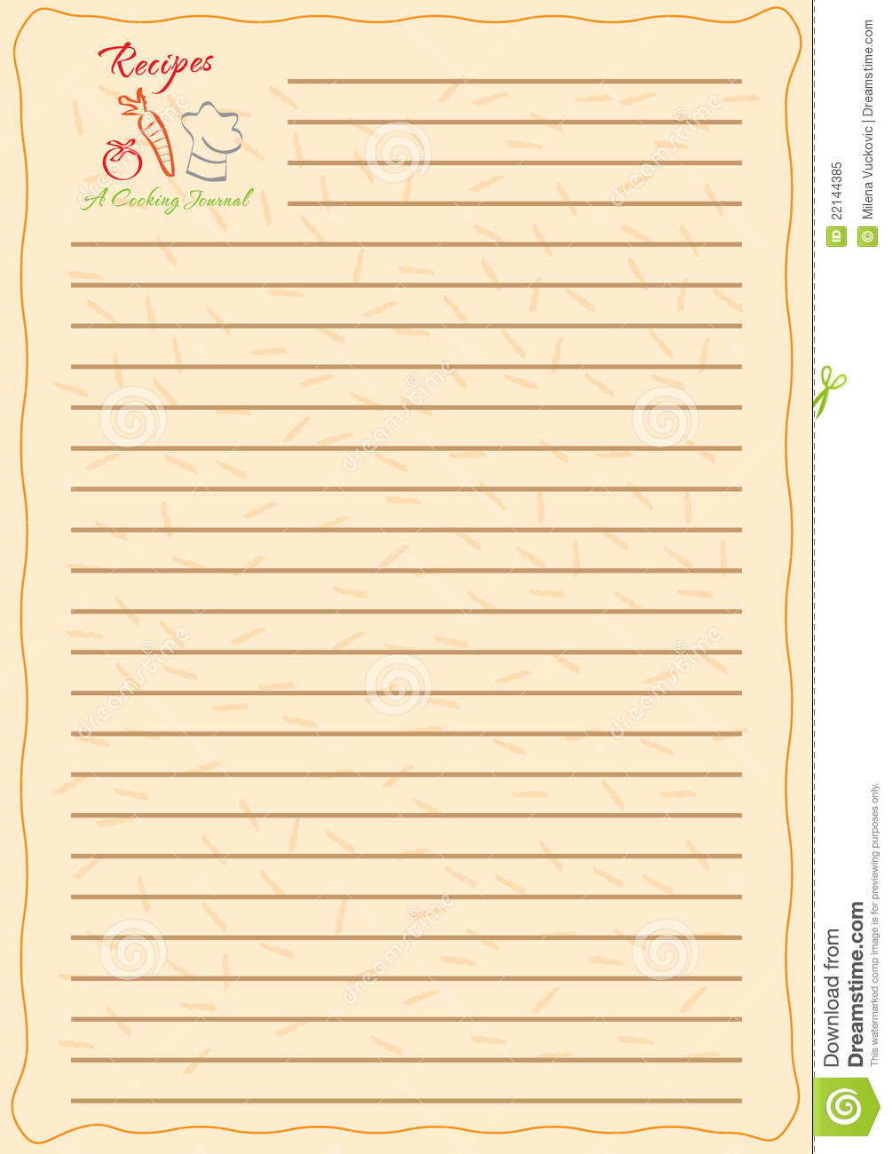 Template Design For A Recipe Book Royalty Free Stock Photo - Image ...
