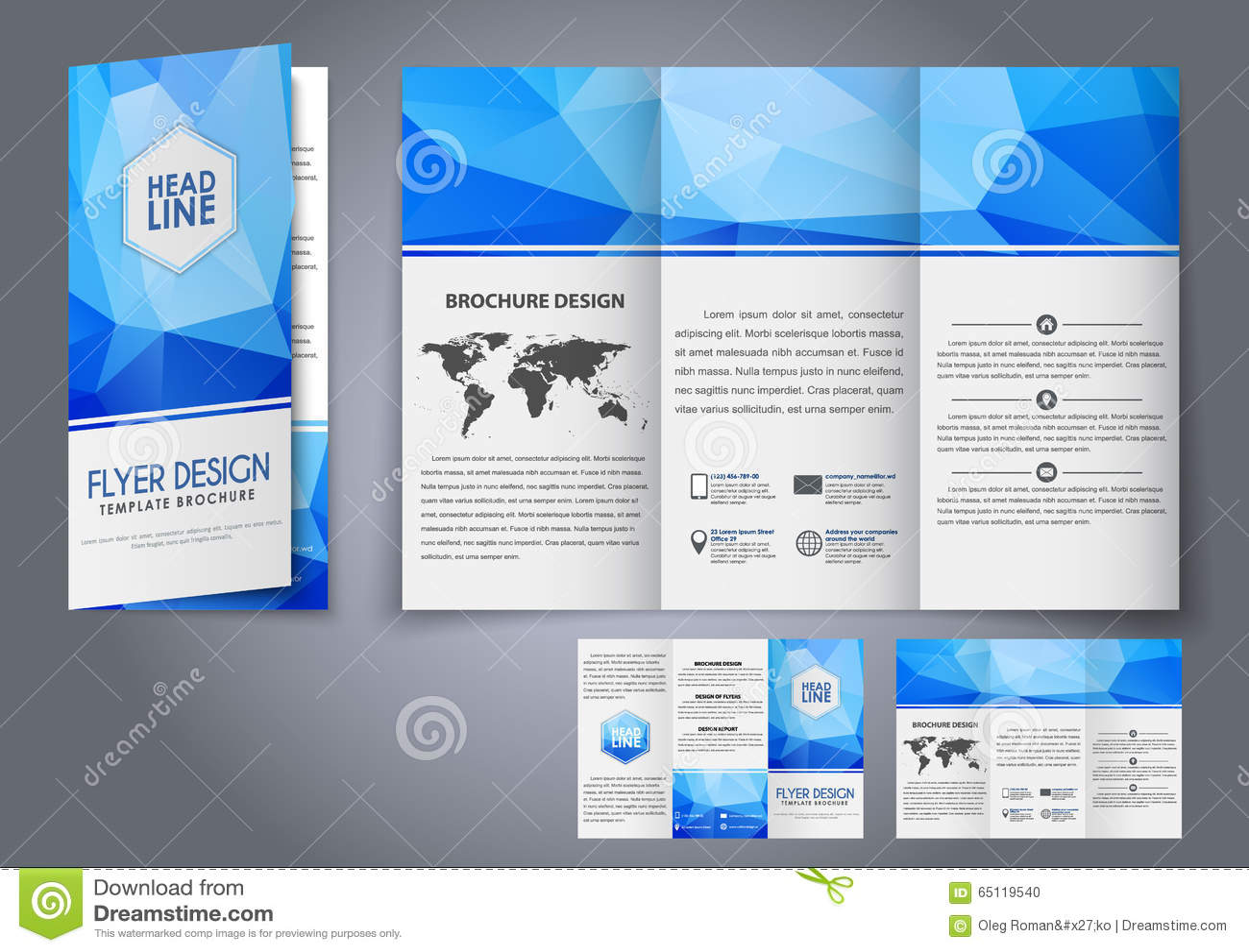 template design three fold flyer  brochure stock vector
