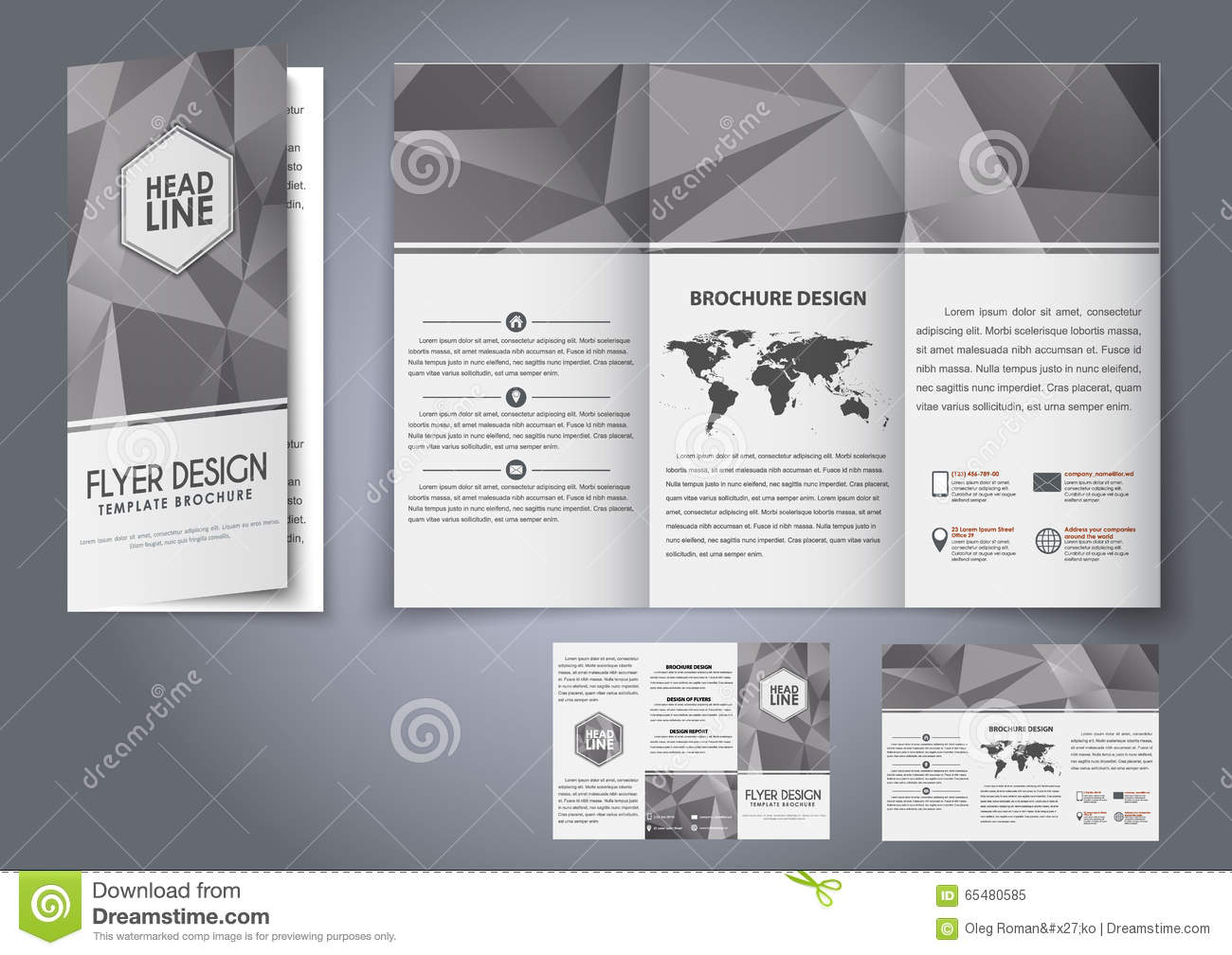 template design three fold flyer brochure stock vector