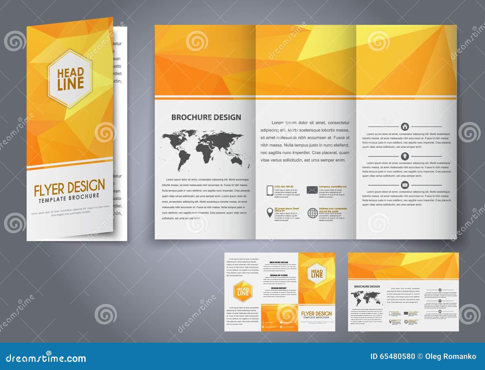 template design three fold flyer brochure stock vector image 65480580. Black Bedroom Furniture Sets. Home Design Ideas