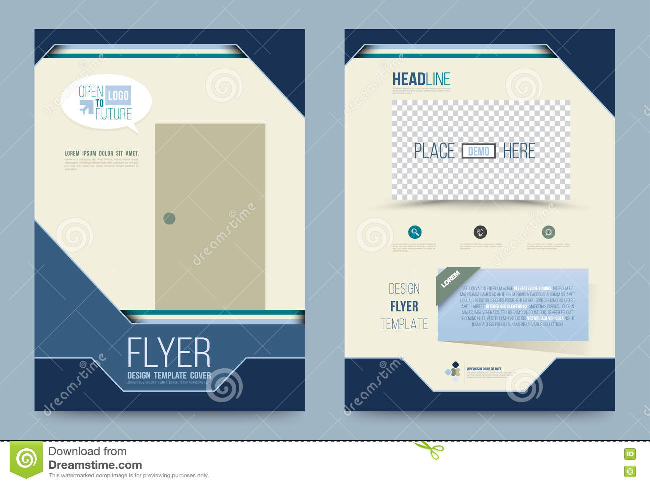 Template design stock vector image of advert business for Printing press brochure template