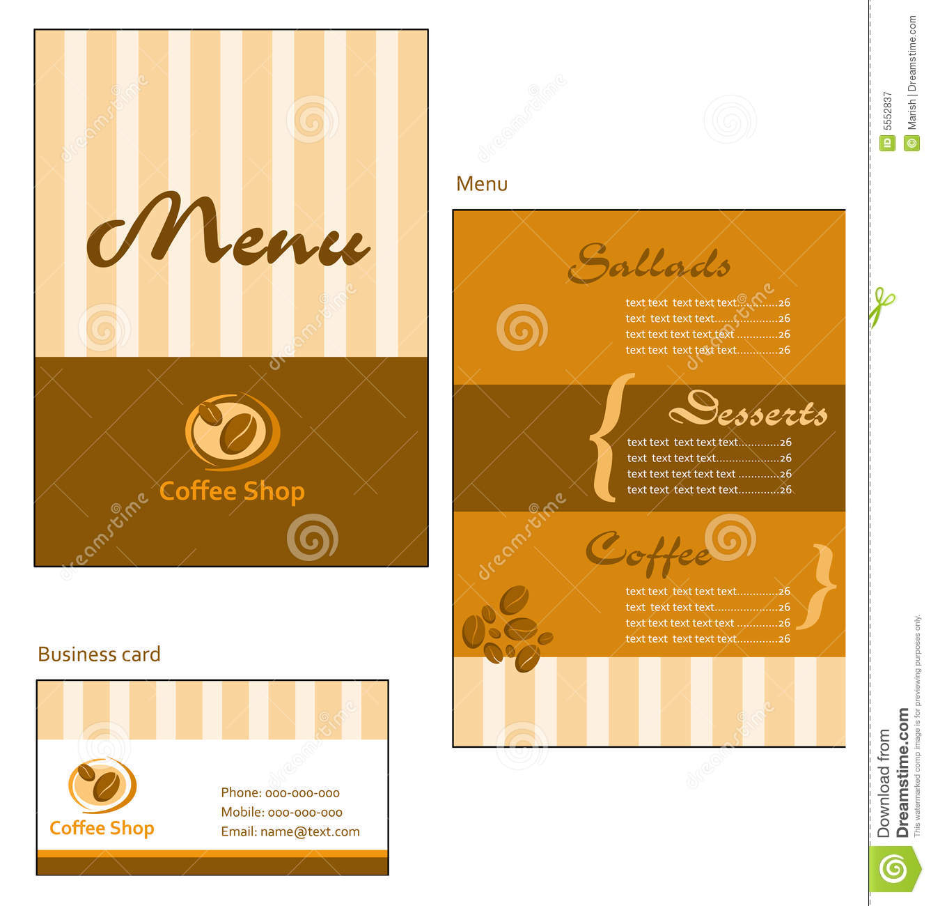 Template Designs Of Menu And Business Card For Cof Royalty ...