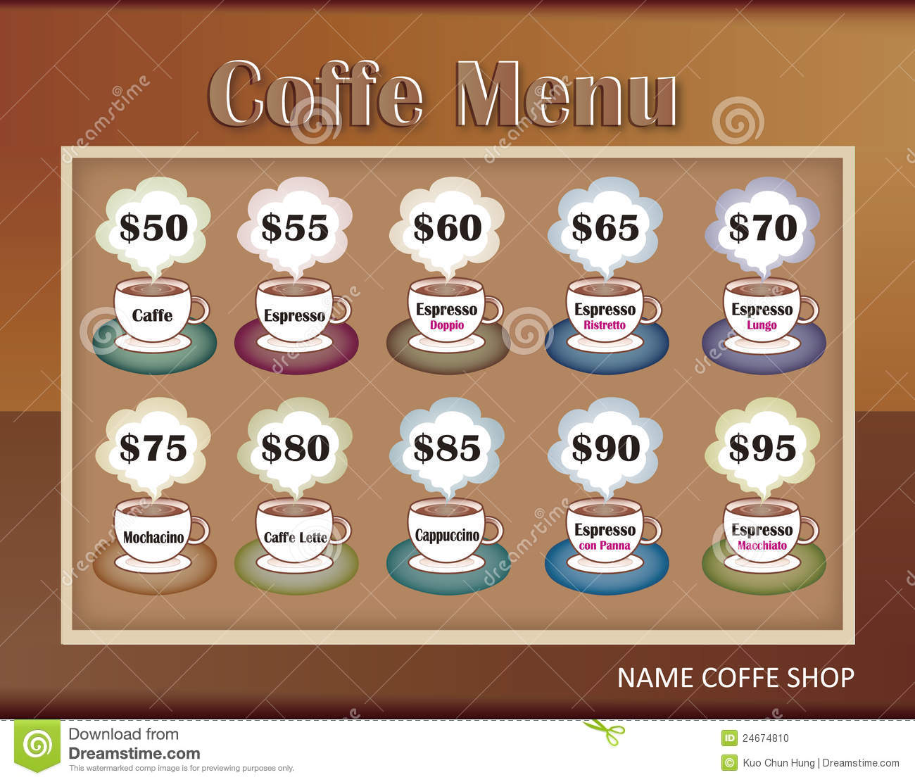 Template Designs Of Menu For Coffee Shop Stock Photo