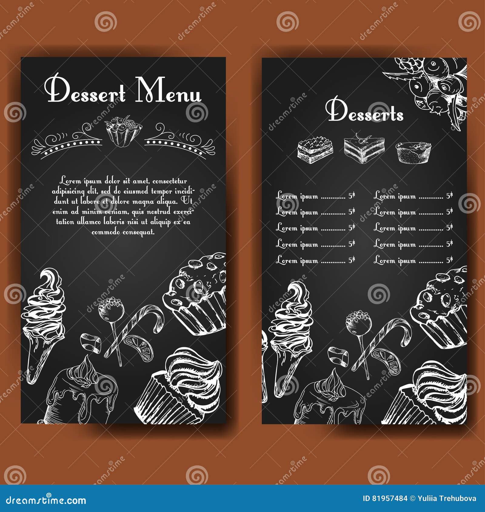 template for dessert menu with sweet tasty cakes hand drawn design for poster restaurant menu. Black Bedroom Furniture Sets. Home Design Ideas