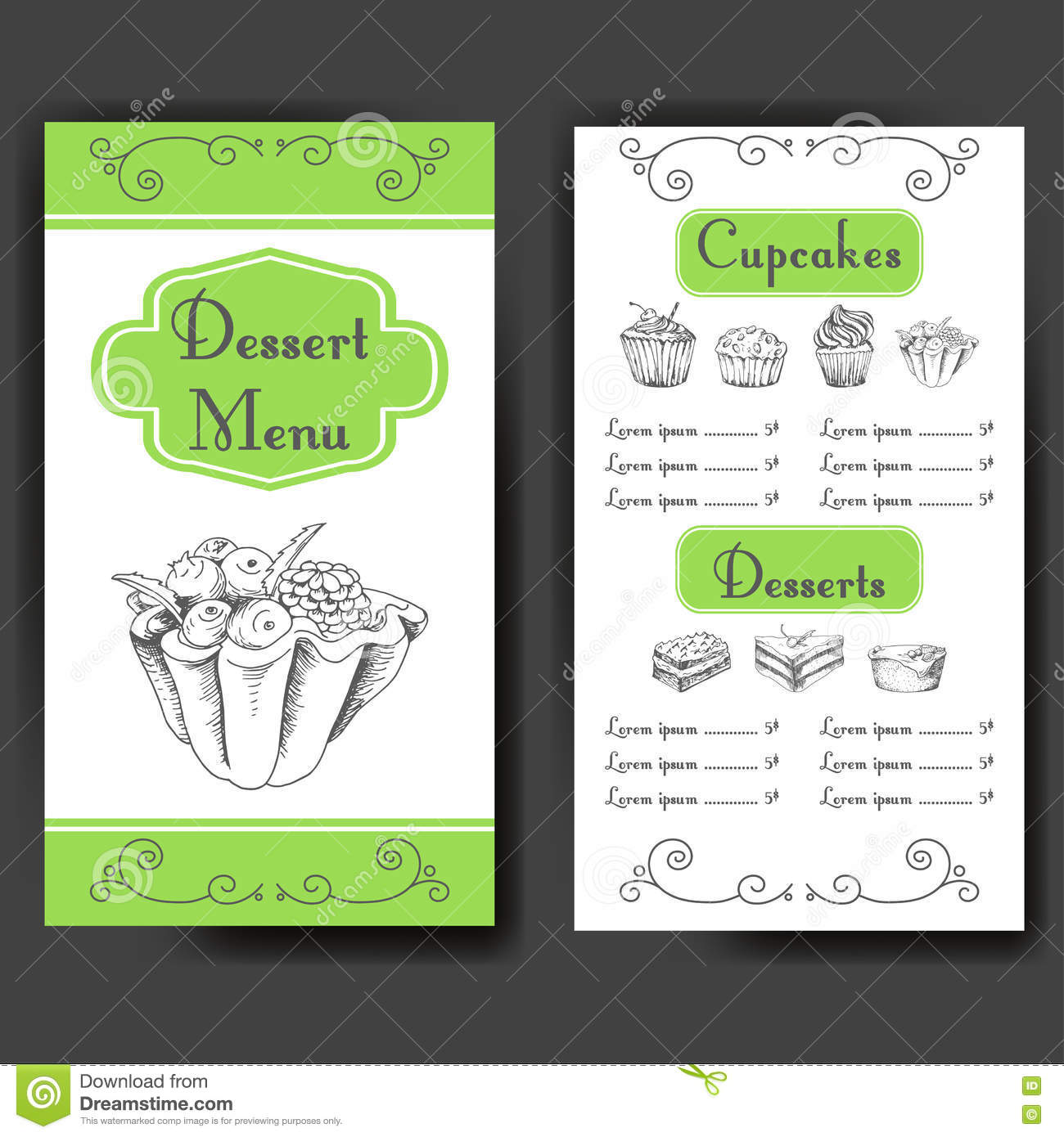 Poster design restaurant - Template For Dessert Menu With Sweet Tasty Cakes Hand Drawn Design For Poster Restaurant