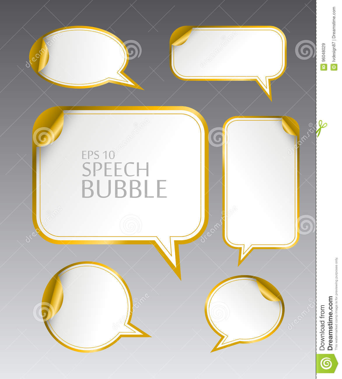 Template of different empty gold speech bubbles with curved corner for dialogue and thought communication