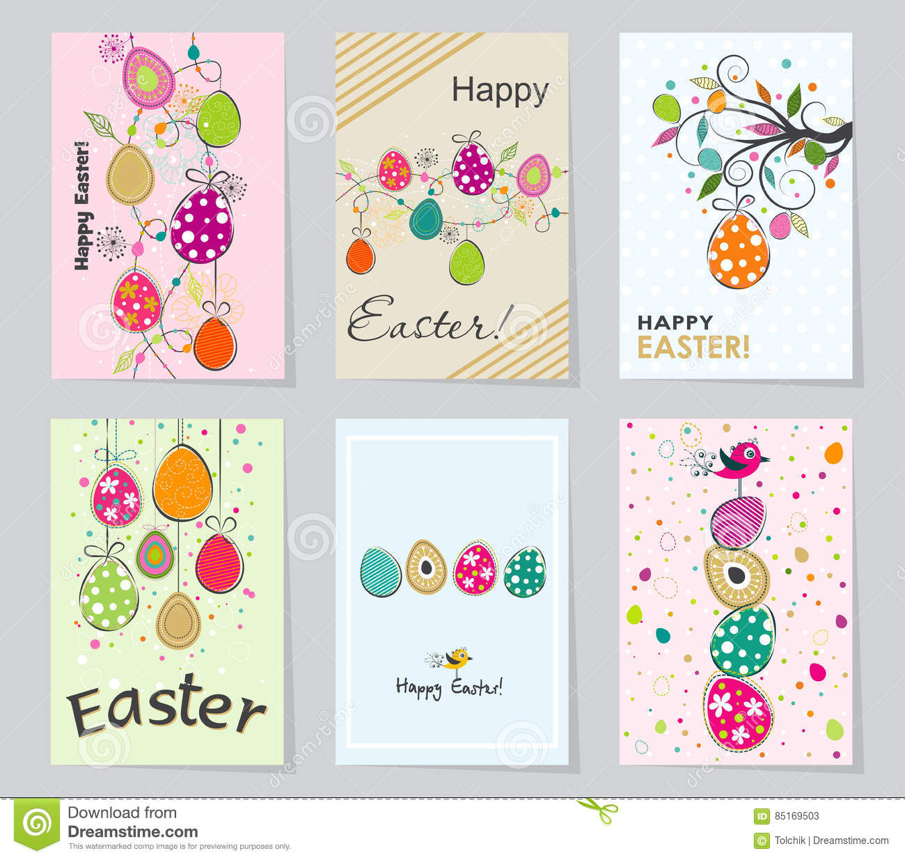 Template easter greeting card vector illustration stock vector set of colored easter greeting cards design template creative cards posters label banner invitations planner gift tags diary notes m4hsunfo