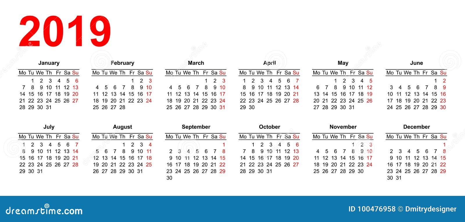 February Calendar 2019 Grid European Calendar Grid 2019 In Vector Stock Vector   Illustration