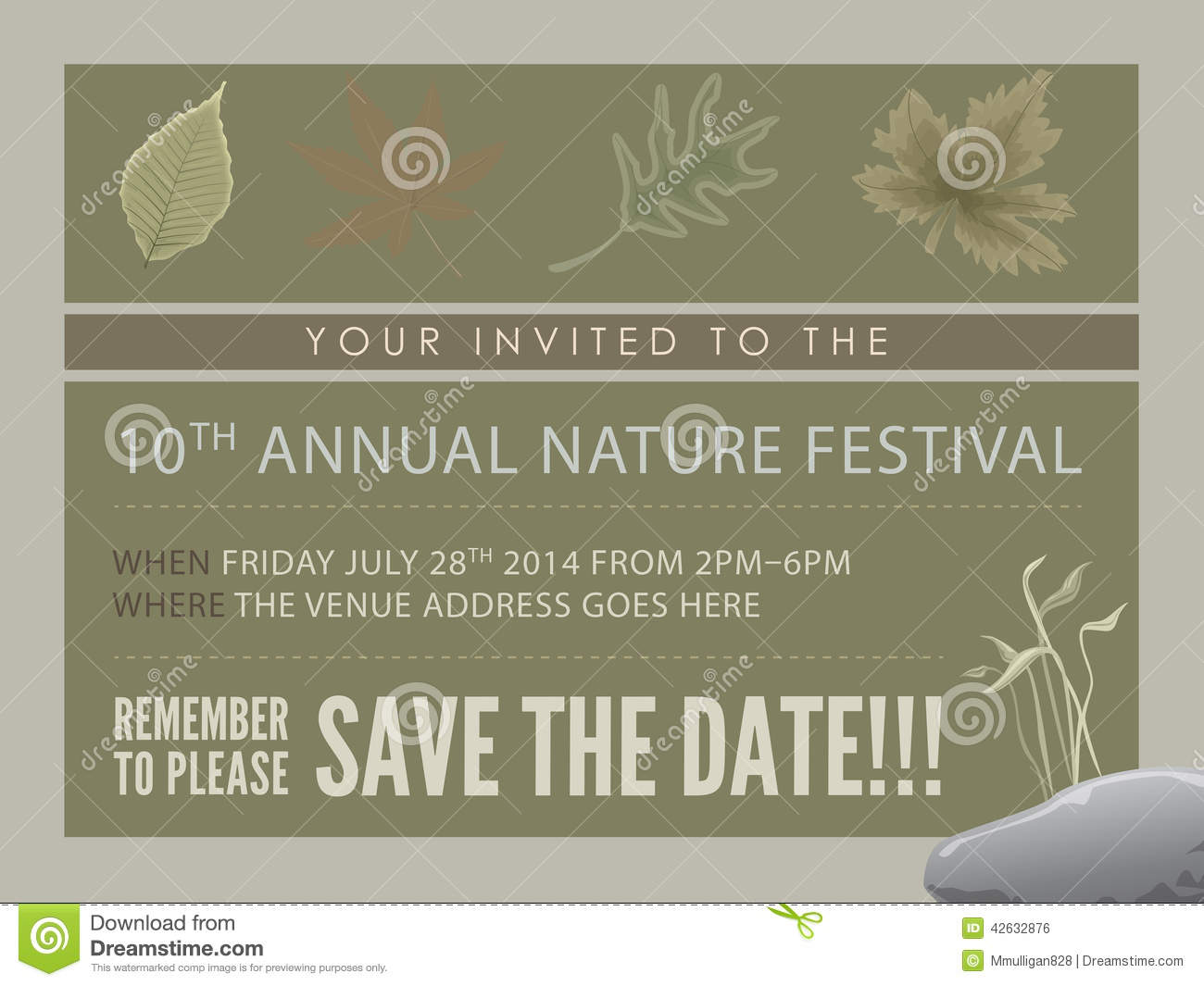 Template Event Flyer Or Save The Date Card Stock Photo - Image ...