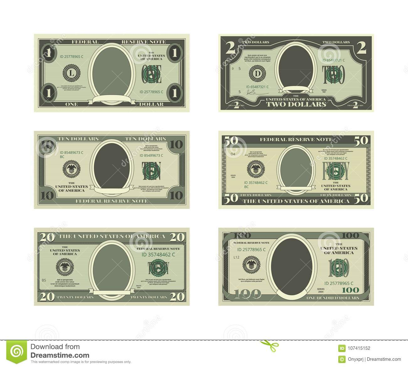 template of fake money vector pictures of dollars stock vector