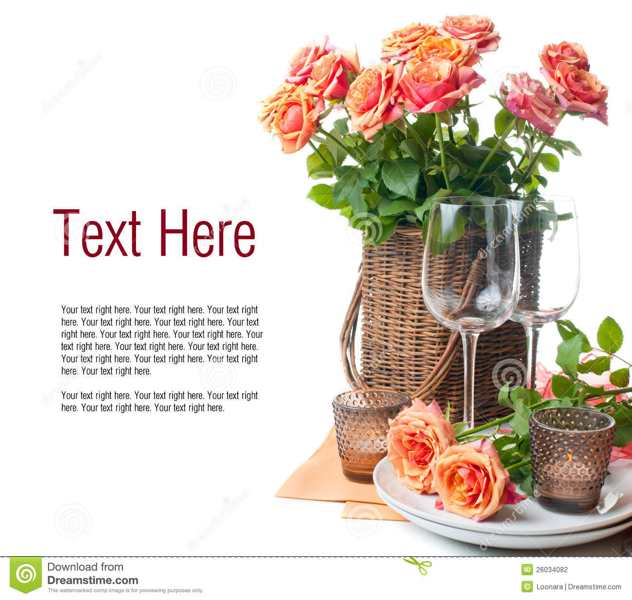 Template with festive table setting with roses stock photo image template with festive table setting with roses pronofoot35fo Image collections